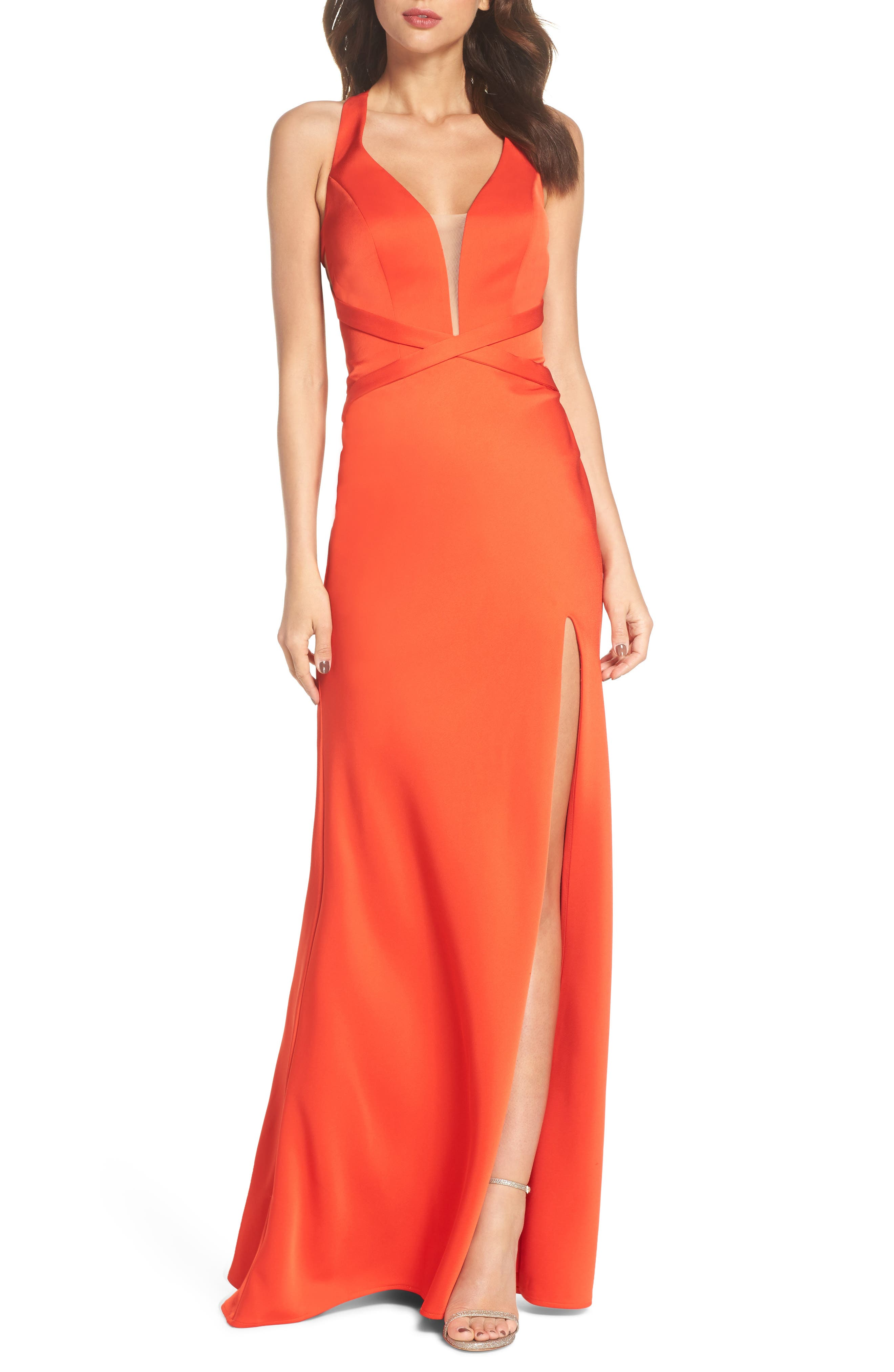 Plunge Neck Satin Gown,                             Main thumbnail 1, color,                             Poppy Red