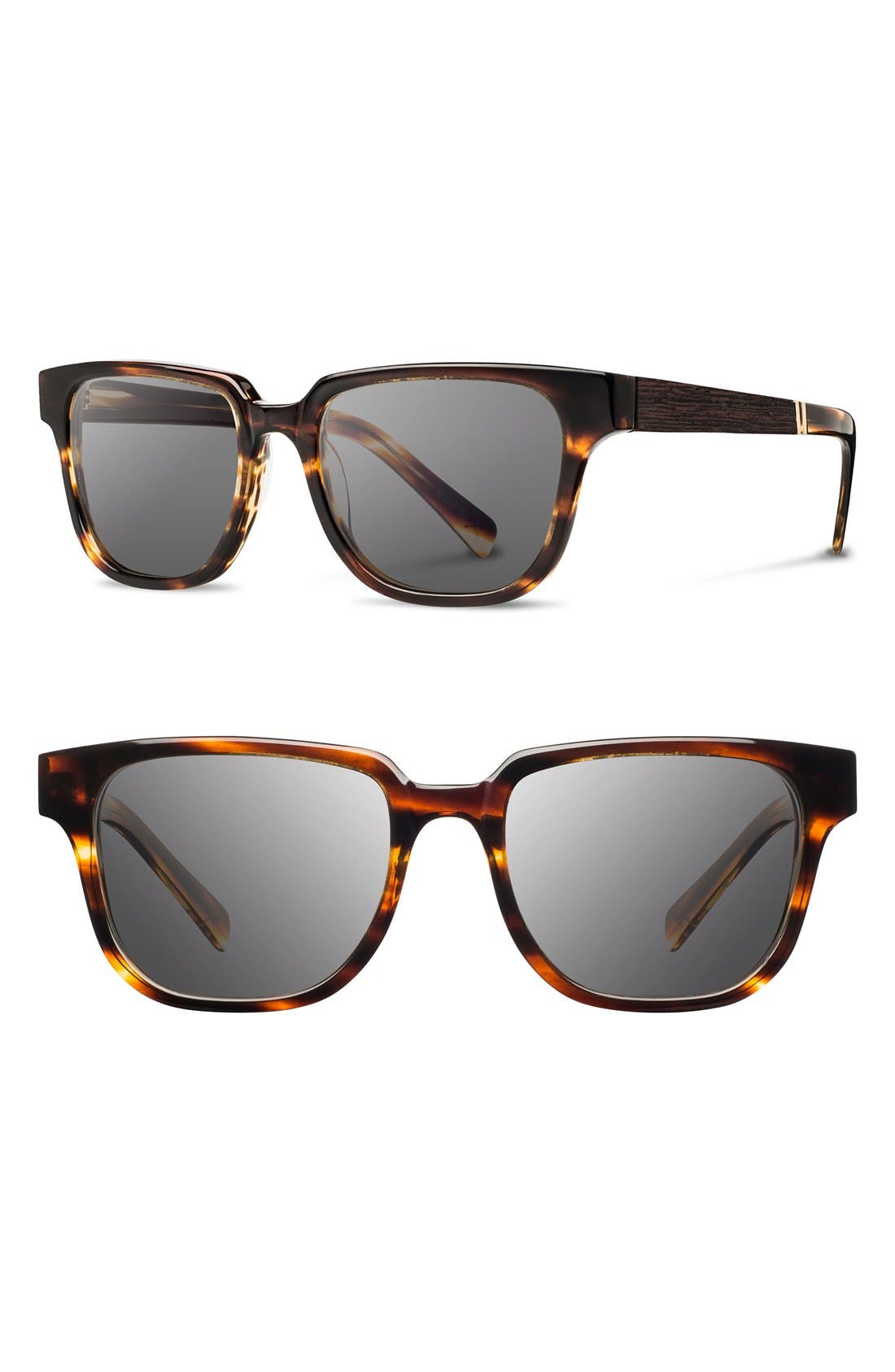 SHWOOD Prescott 52mm Polarized Acetate & Wood Sunglasses