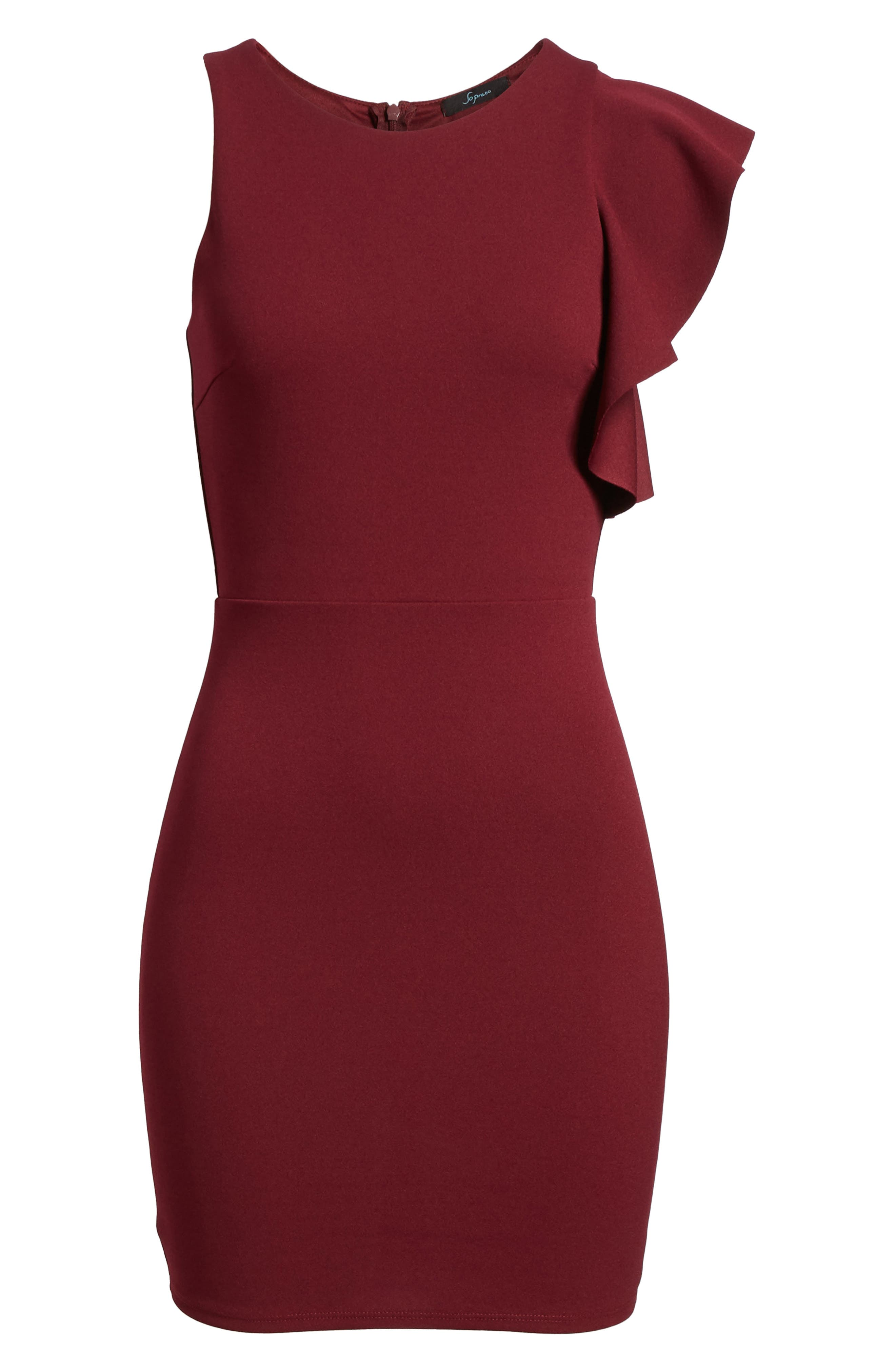 Ruffle Sleeve Body-Con Dress,                             Alternate thumbnail 6, color,                             Wine