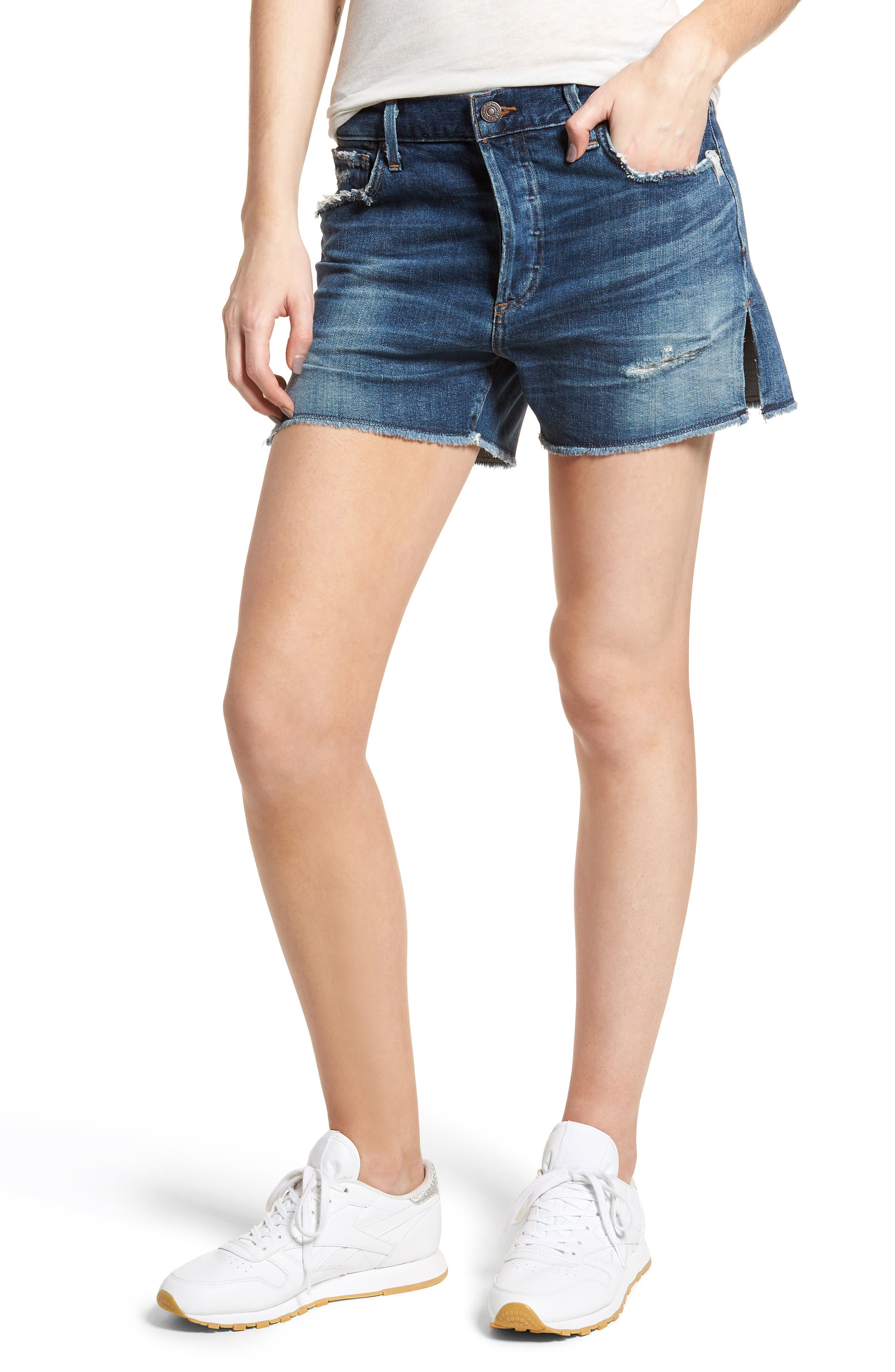 Corey Distressed Slouchy Denim Shorts,                             Main thumbnail 1, color,                             Ombre