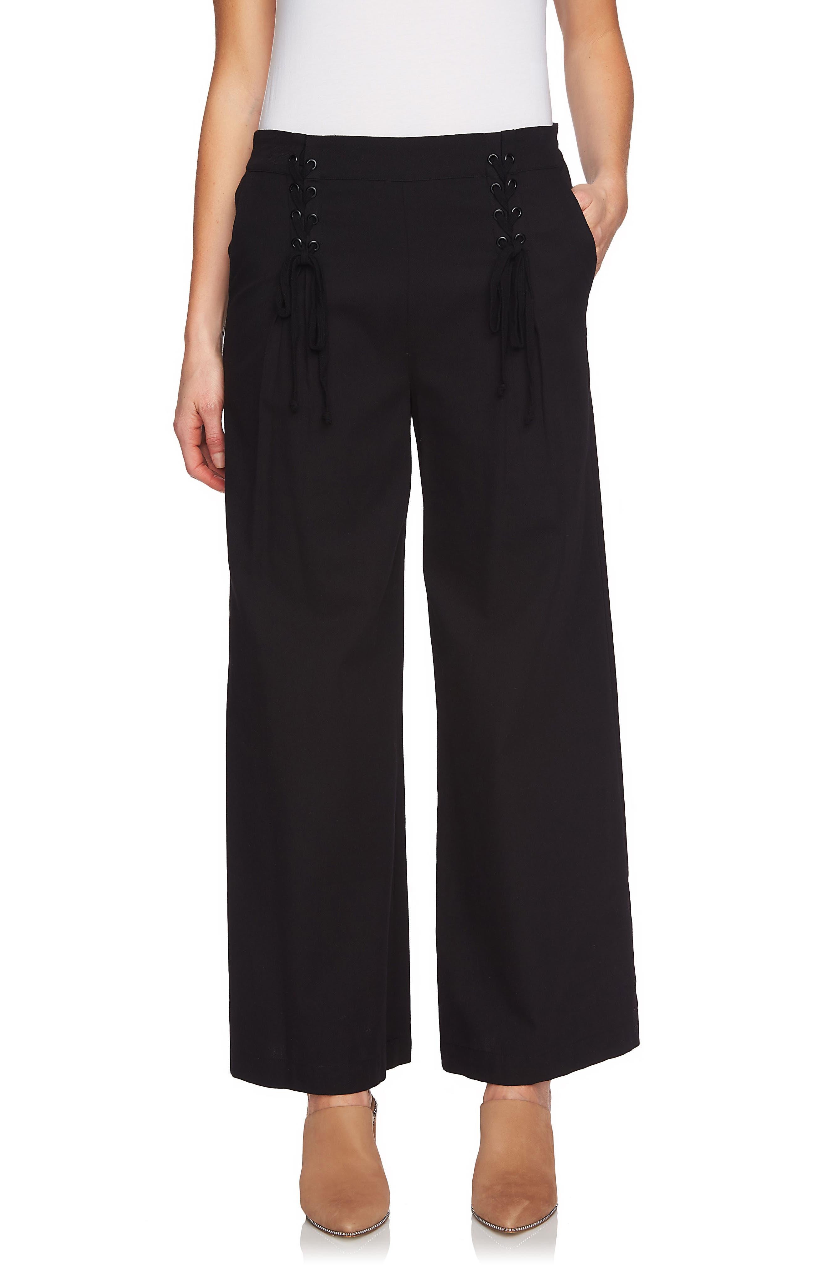 Lace-Up Detail Wide Leg Pants,                             Main thumbnail 1, color,                             Rich Black