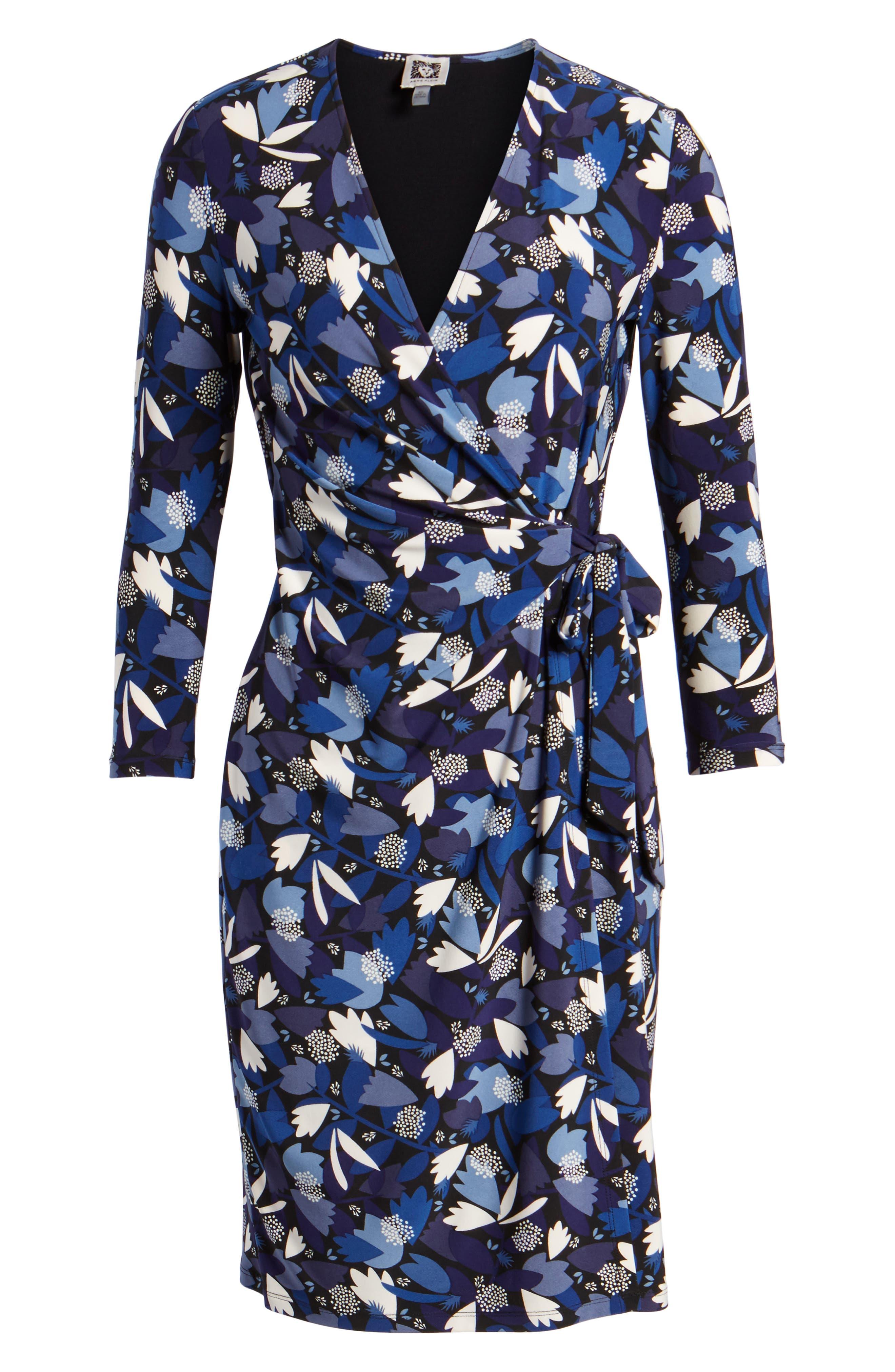 New York Amalfi Print Classic Wrap Dress,                             Alternate thumbnail 6, color,                             Black/ Monaco Combo