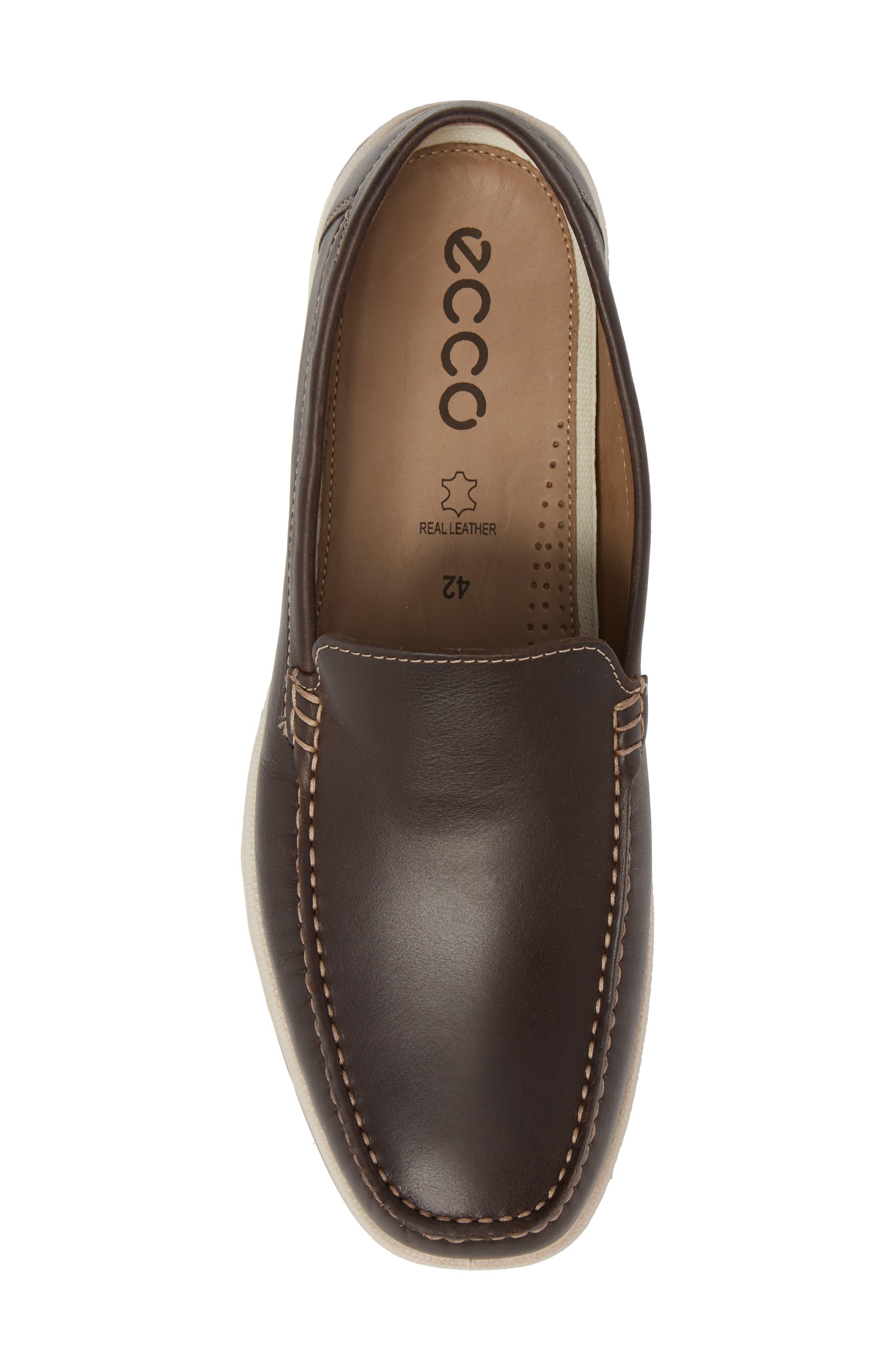 Dip Moc Toe Driving Loafer,                             Alternate thumbnail 5, color,                             Mocha Leather