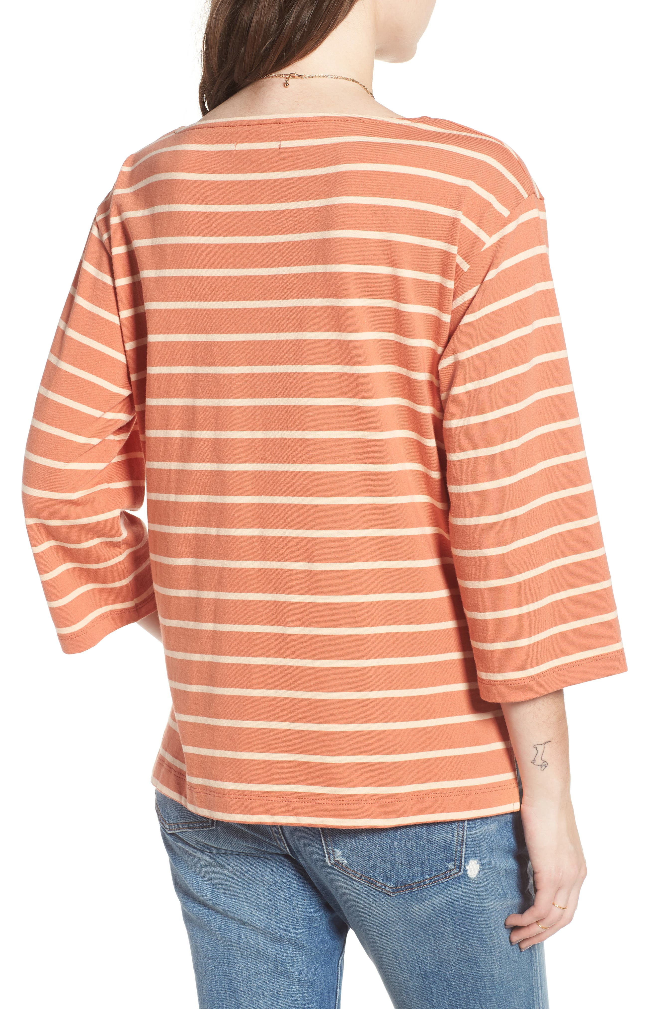 Stripe Boat Neck Top,                             Alternate thumbnail 2, color,                             Dried Coral