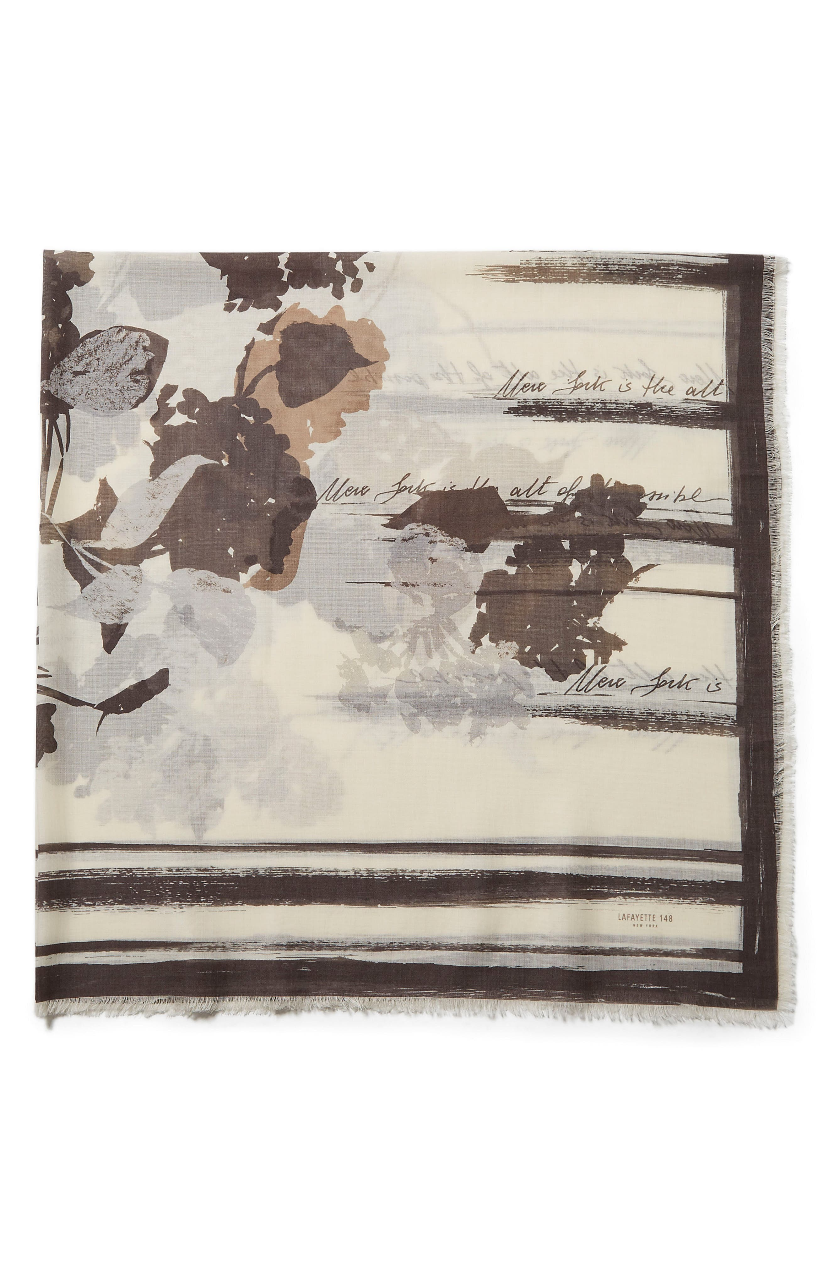 Lafayette 148 New York Print Wool & Silk Scarf