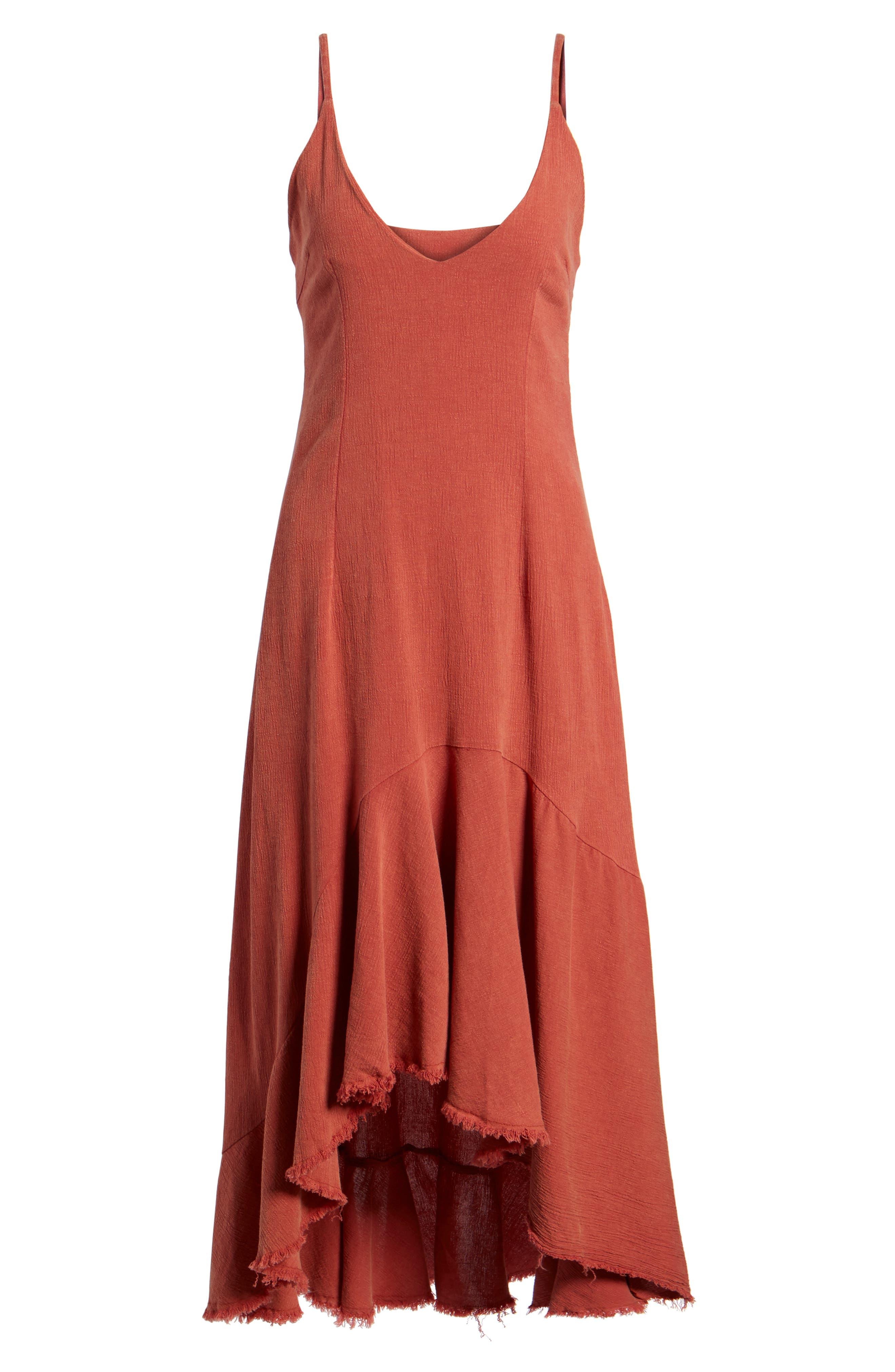 Meet Me in Dreams Flutter Hem Dress,                             Alternate thumbnail 7, color,                             Burnt Orange