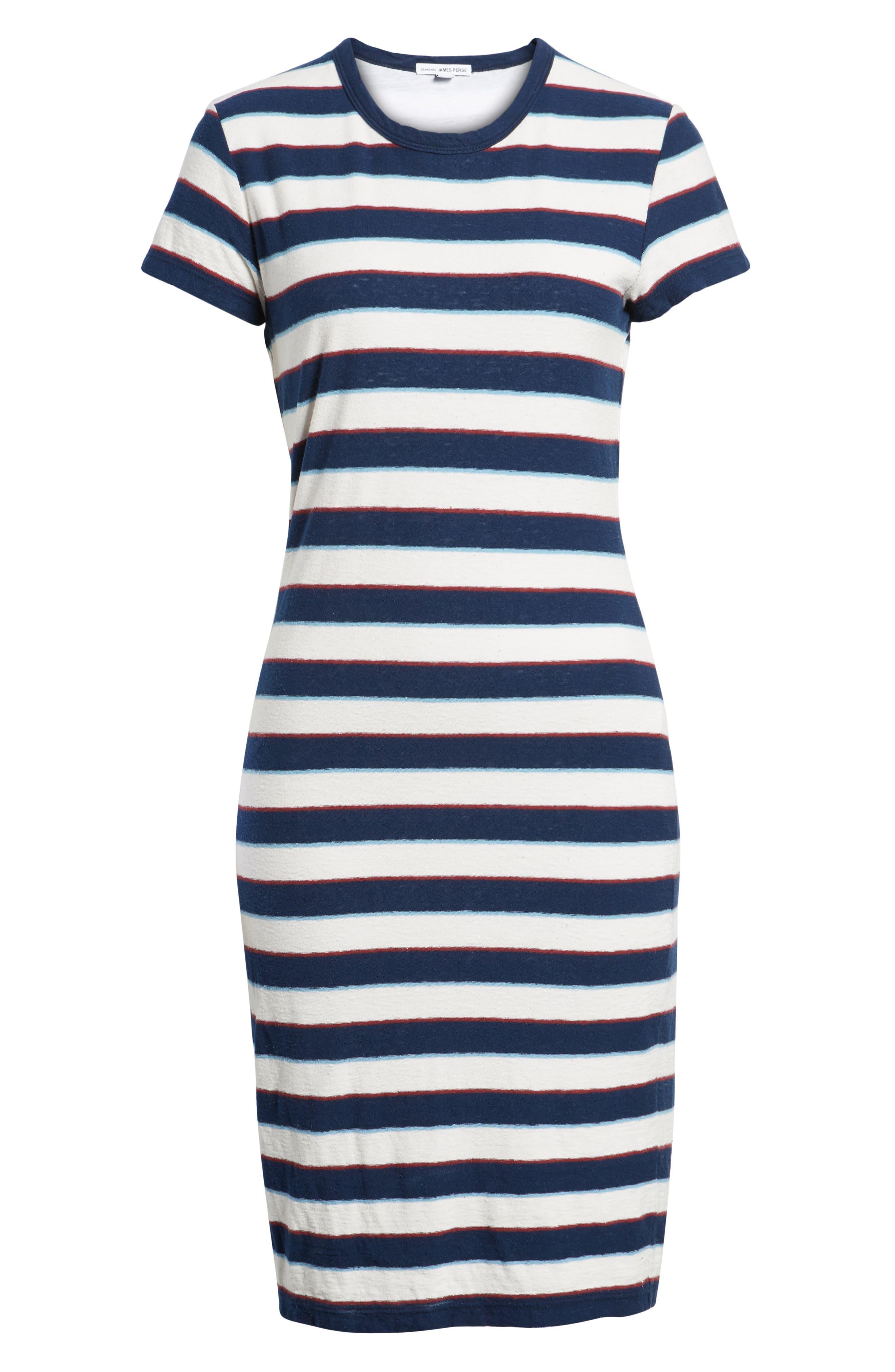 Vintage Stripe T-Shirt Dress,                             Alternate thumbnail 6, color,                             Navy Stripe