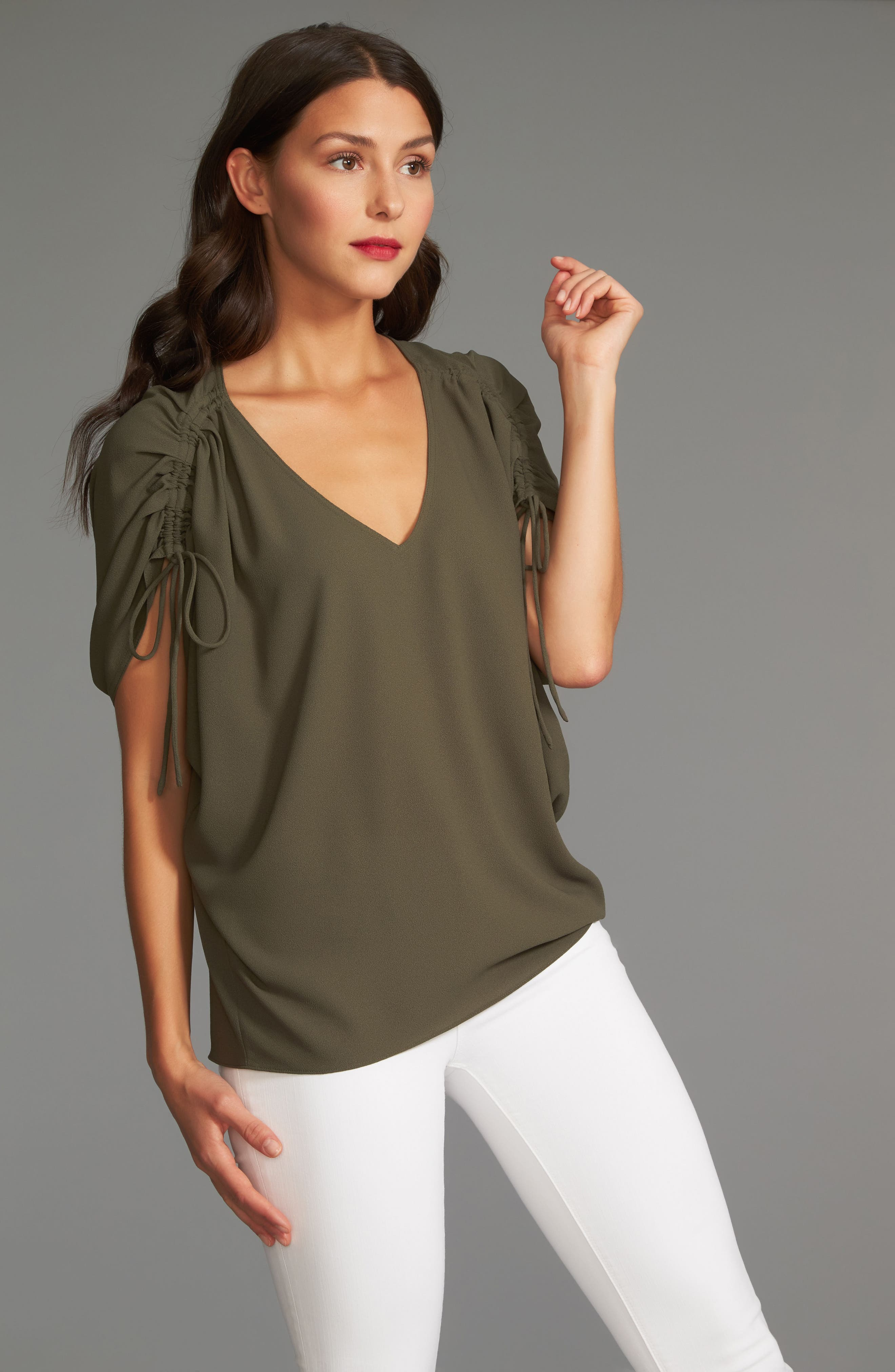 Cinch Sleeve Blouse,                             Alternate thumbnail 3, color,                             311-Olive Tree