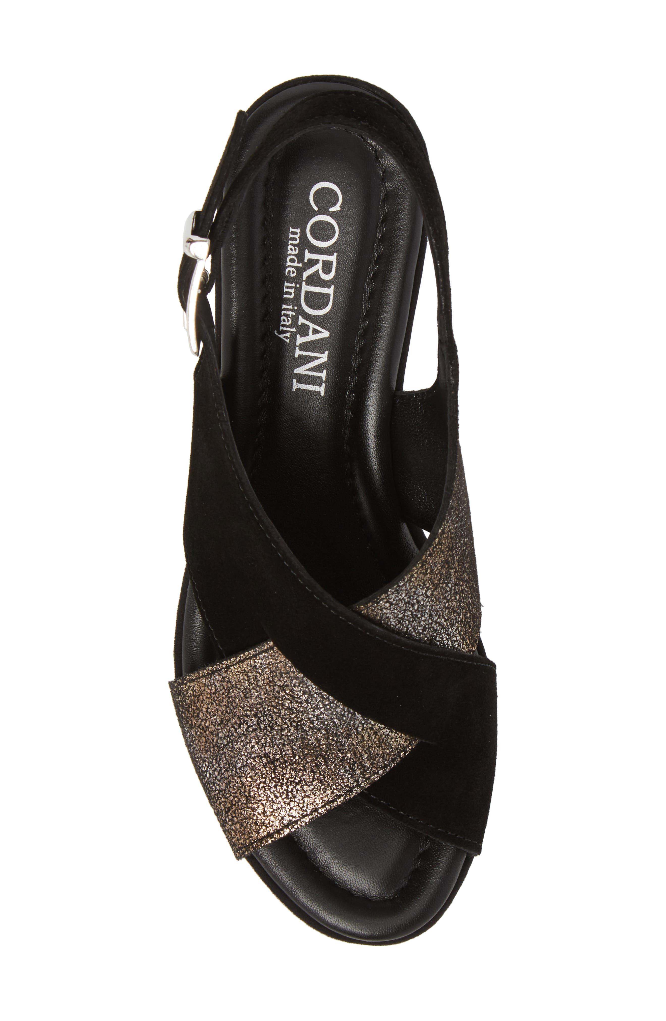 Cleary Wedge Sandal,                             Alternate thumbnail 5, color,                             Black/ Pewter Suede
