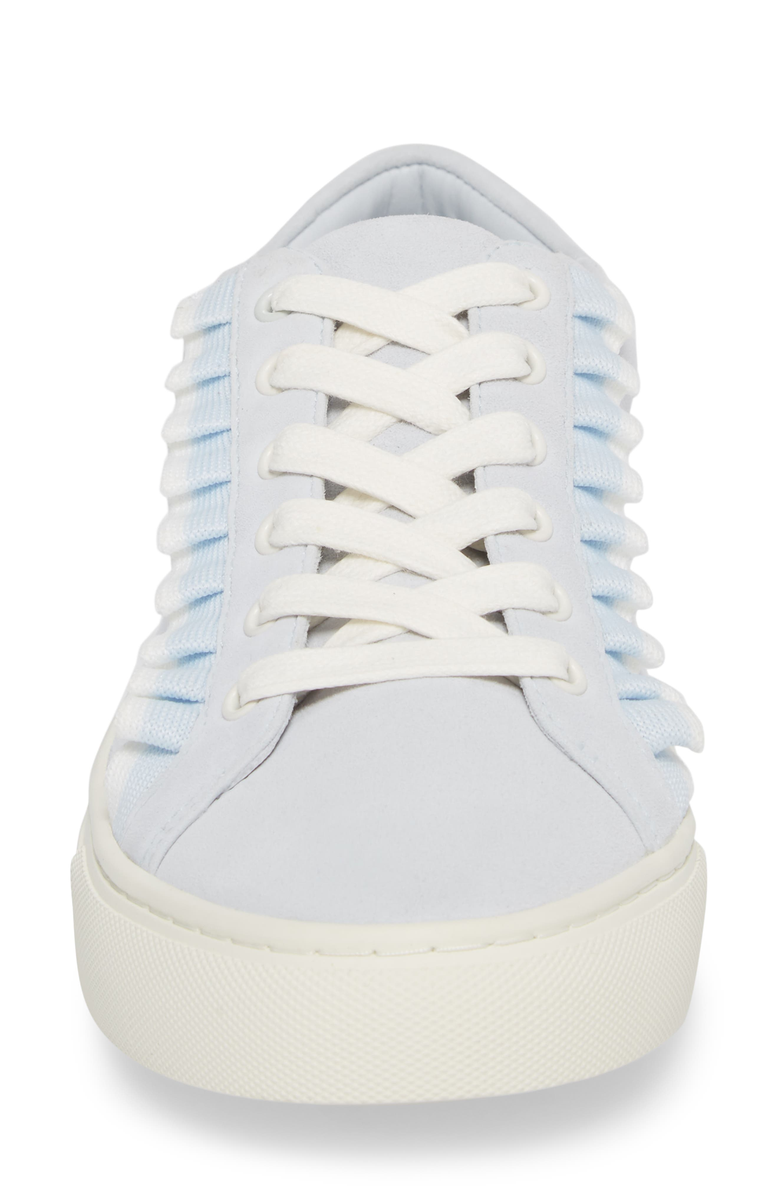 Ruffle Sneaker,                             Alternate thumbnail 5, color,                             Blue Silk Suede
