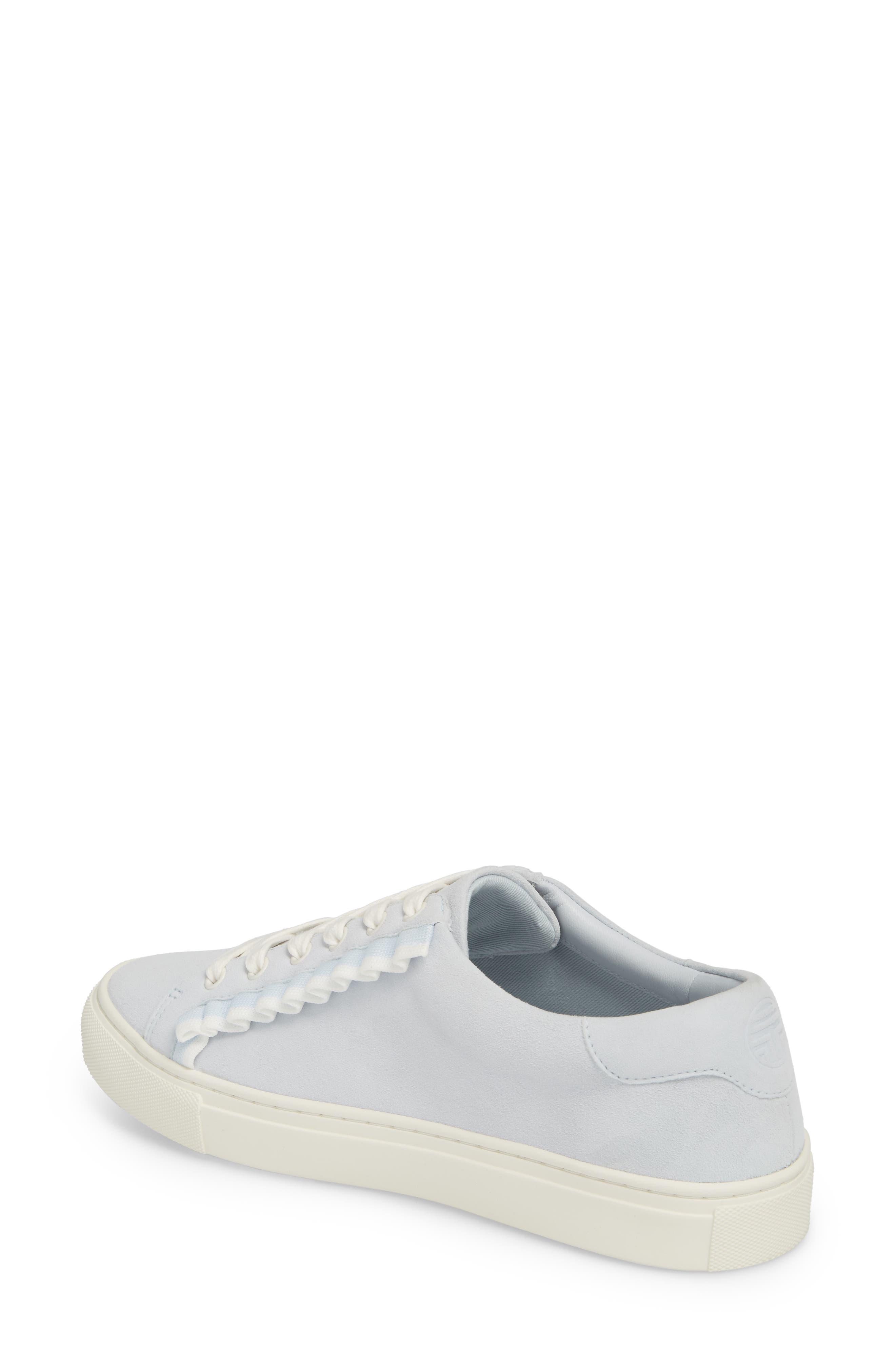 Ruffle Sneaker,                             Alternate thumbnail 2, color,                             Blue Silk Suede