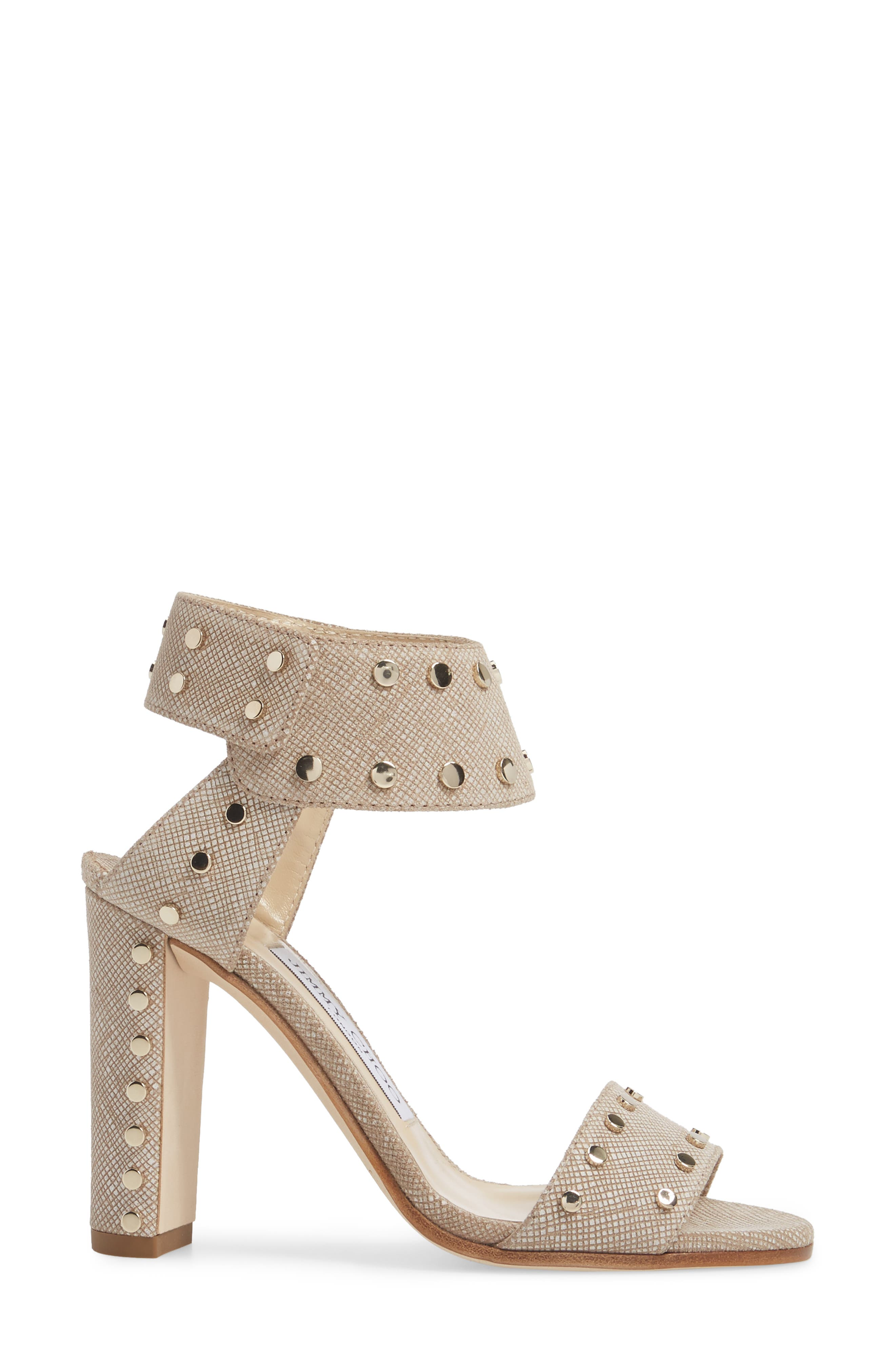 Veto Studded Ankle Cuff Sandal,                             Alternate thumbnail 3, color,                             Chai/ Gold
