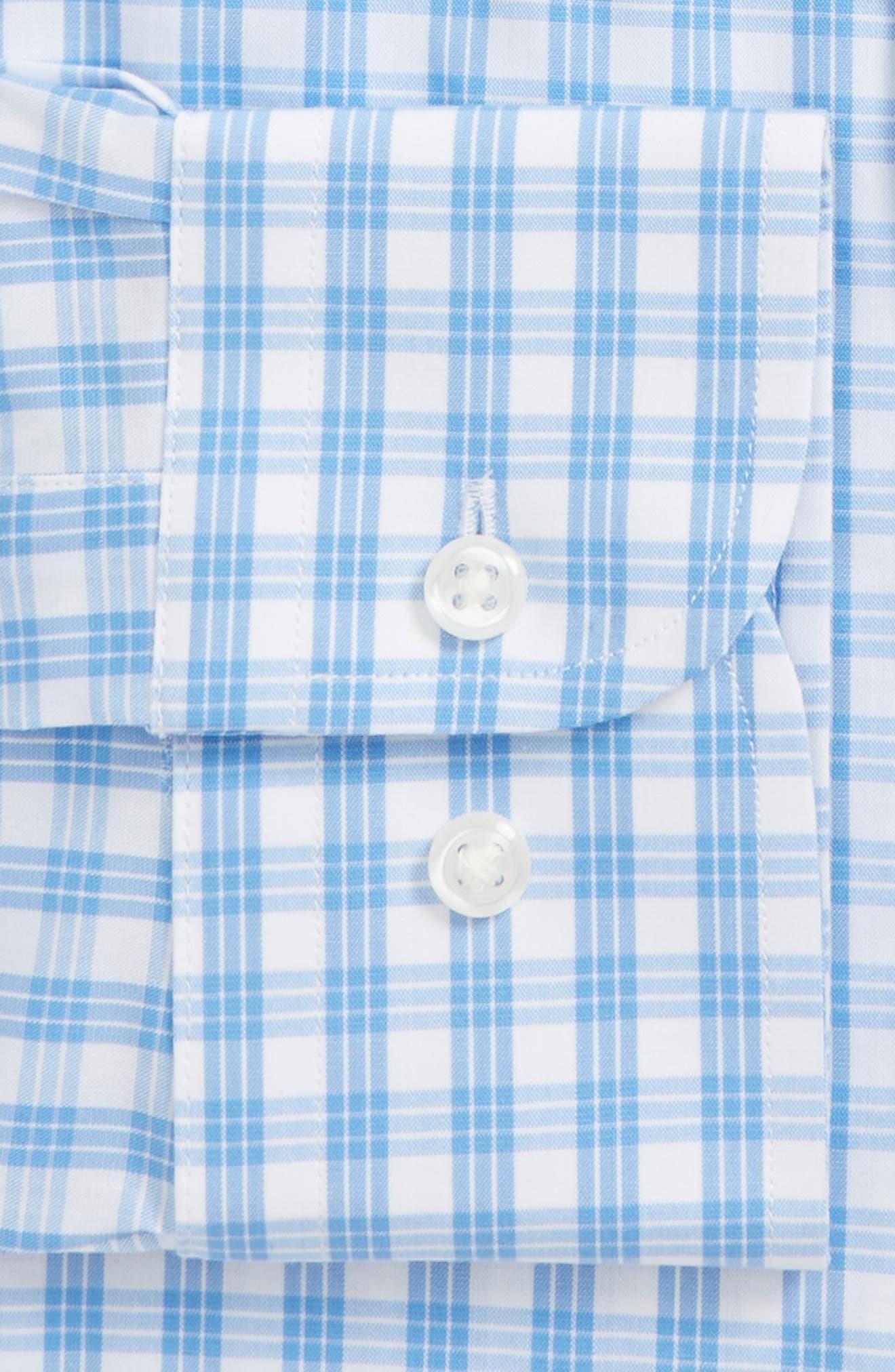Tech Smart Traditional Fit Stretch Check Dress Shirt,                             Alternate thumbnail 5, color,                             Blue Lake