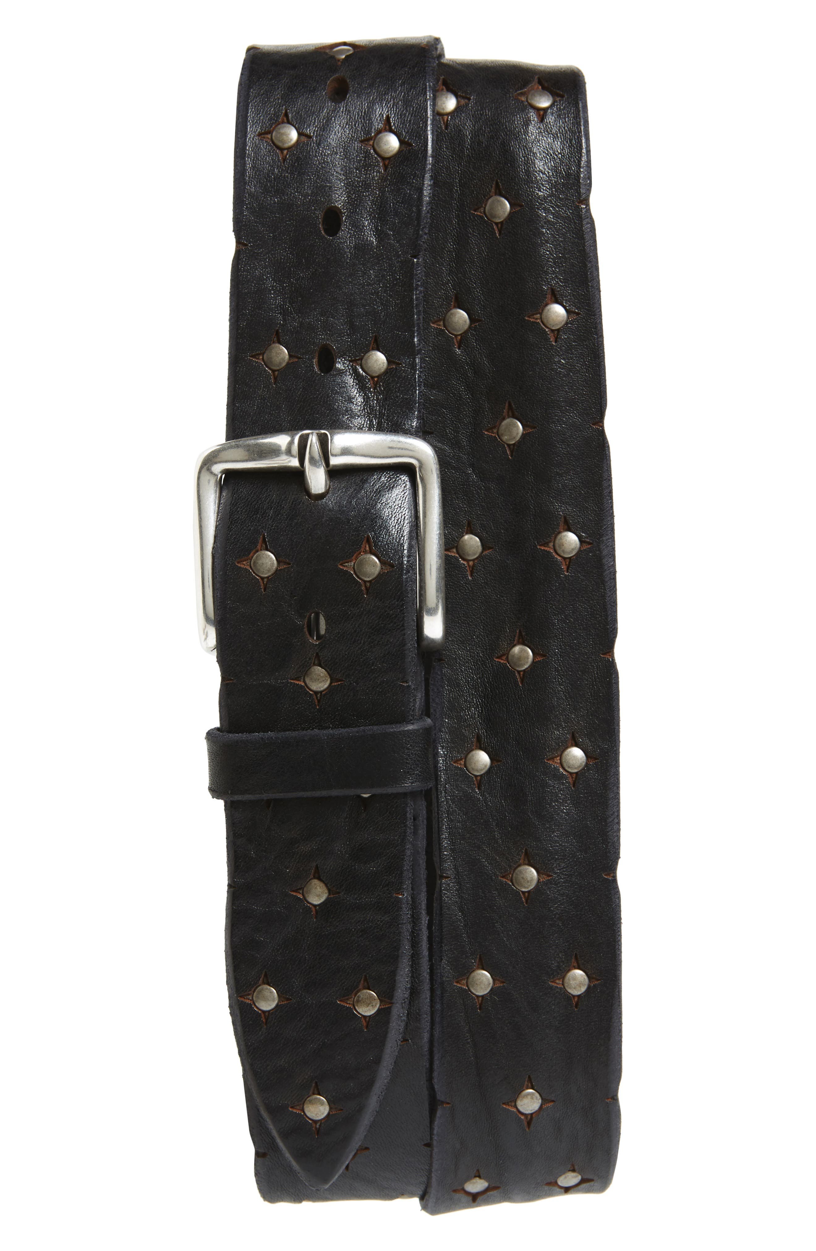 Wax Studded Leather Belt,                         Main,                         color, Nero