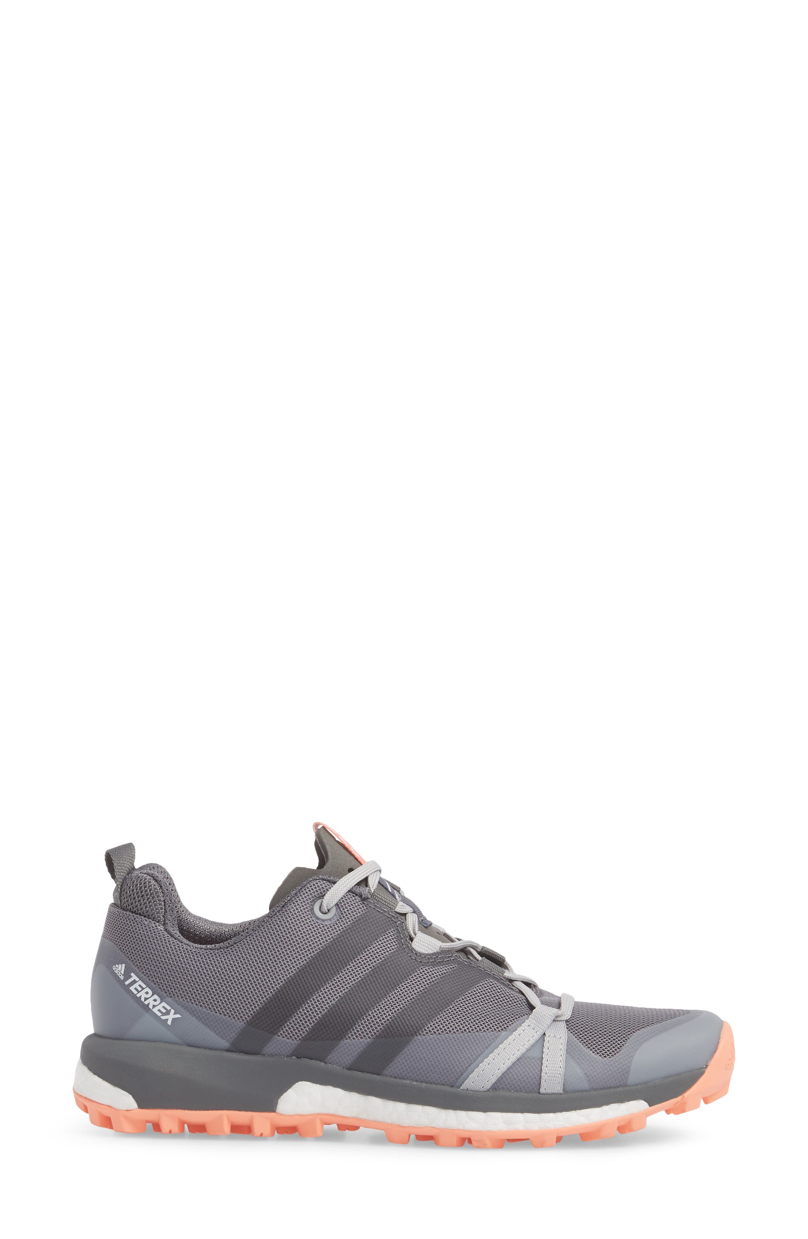 Terrex Agravic Trail Running Shoe,                             Alternate thumbnail 3, color,                             Grey Three/ Grey Four/ Coral