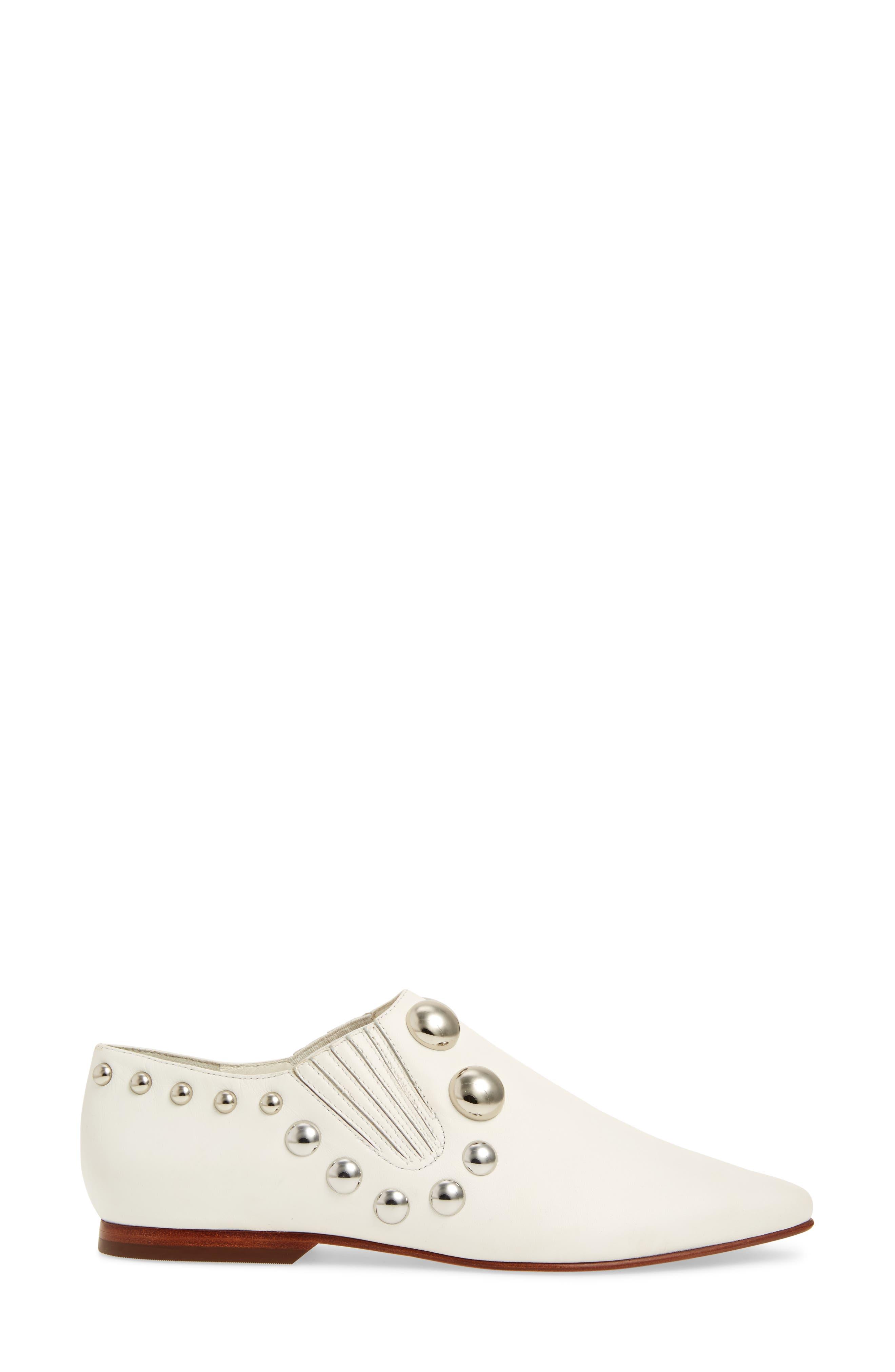 Blythe Studded Loafer,                             Alternate thumbnail 3, color,                             White