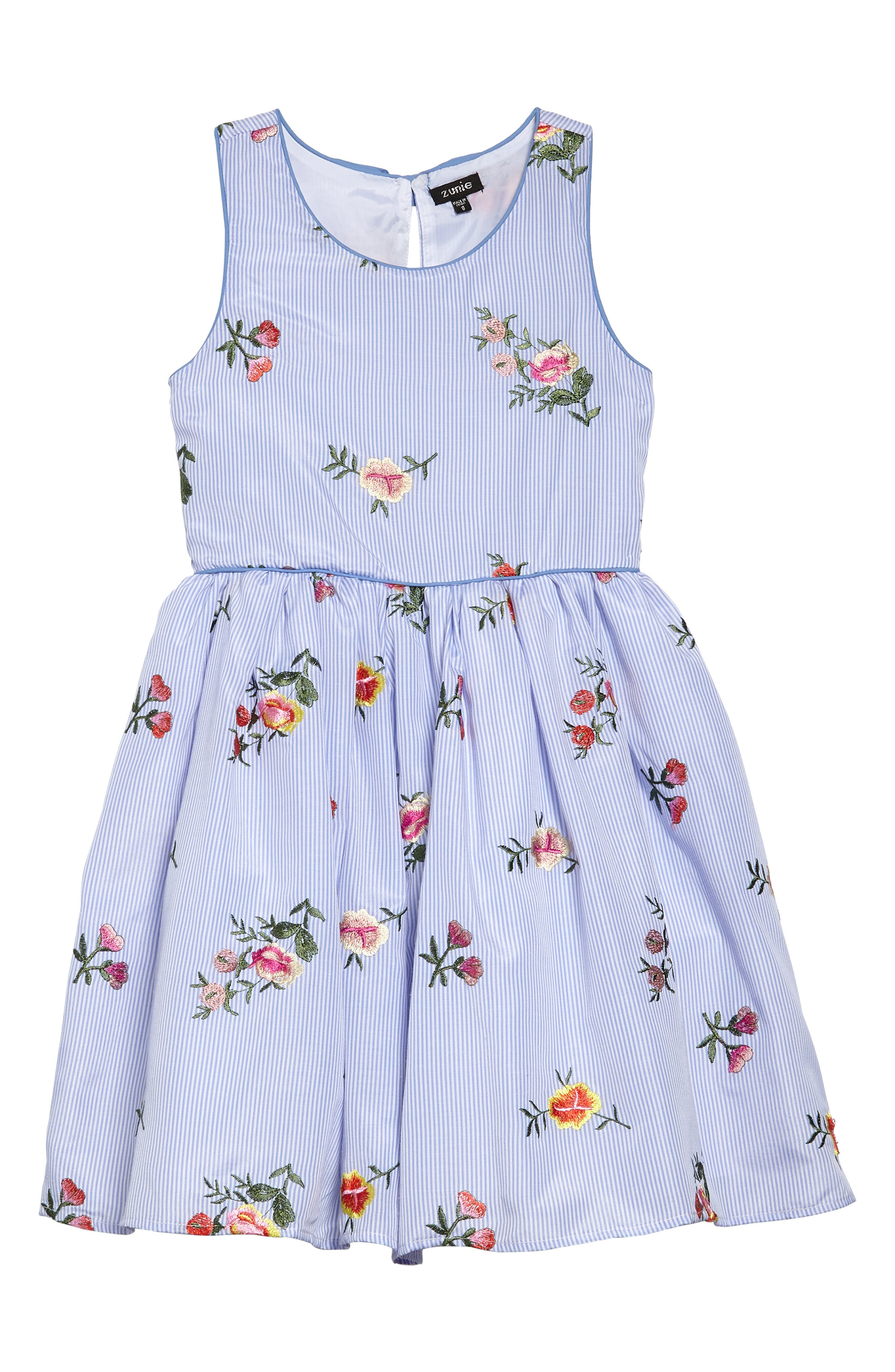 Stripe Embroidered Flower Sleeveless Dress,                         Main,                         color, Blue/ White