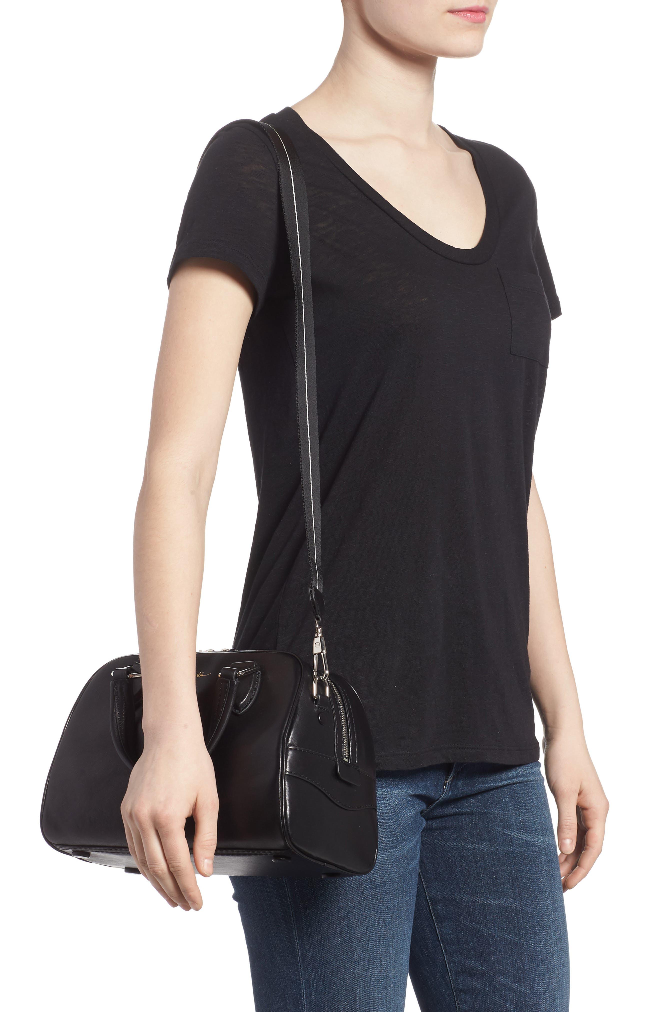 Small Ray Lambskin Leather Flight Bag,                             Alternate thumbnail 2, color,                             Black
