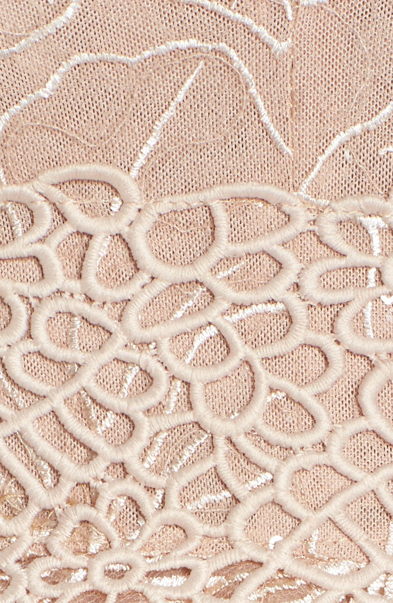 Fiore Sequin Fit & Flare Dress,                             Alternate thumbnail 5, color,                             Beige