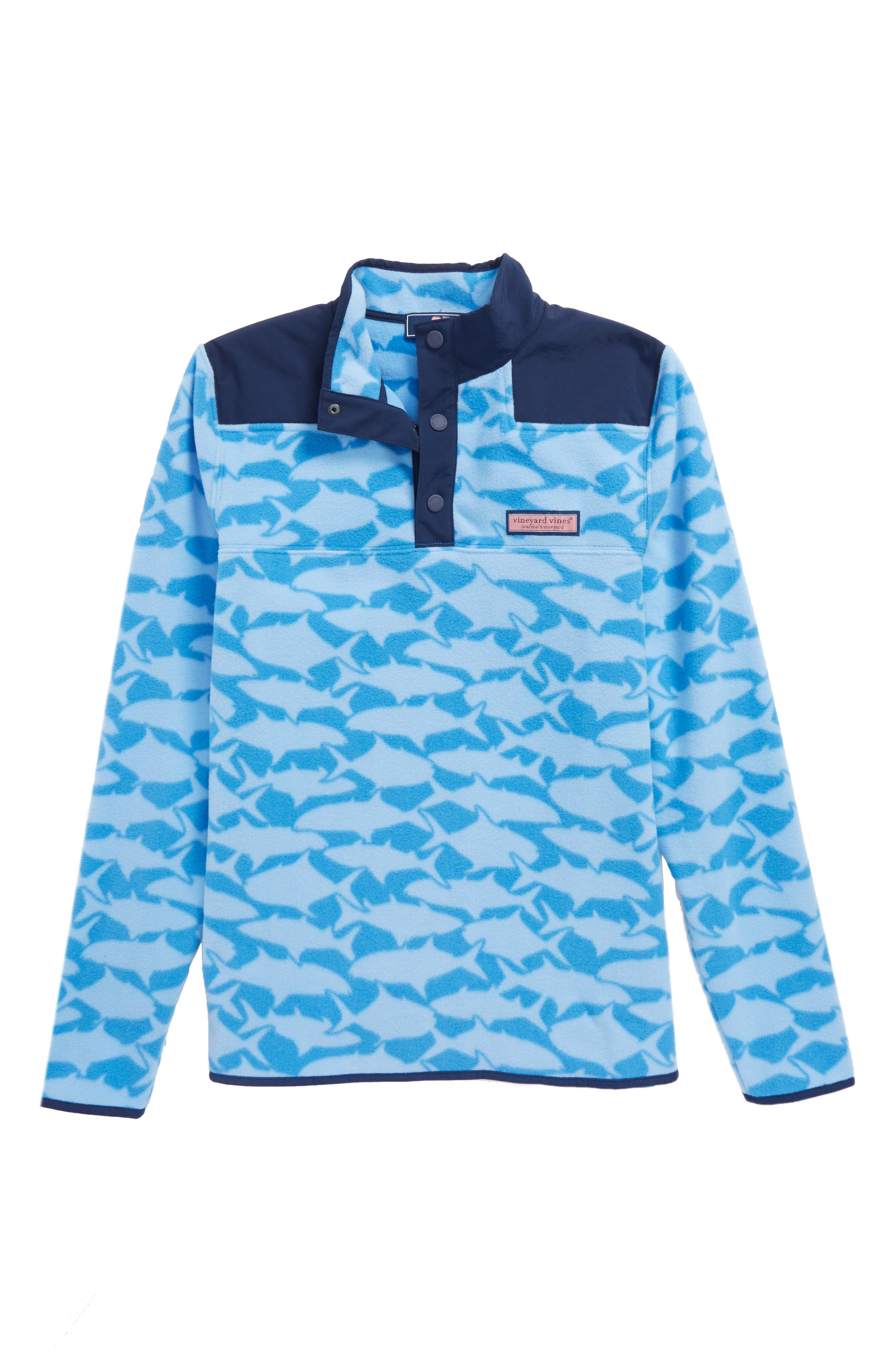Shep Print Fleece Quarter Snap Pullover,                             Main thumbnail 1, color,                             Hull Blue
