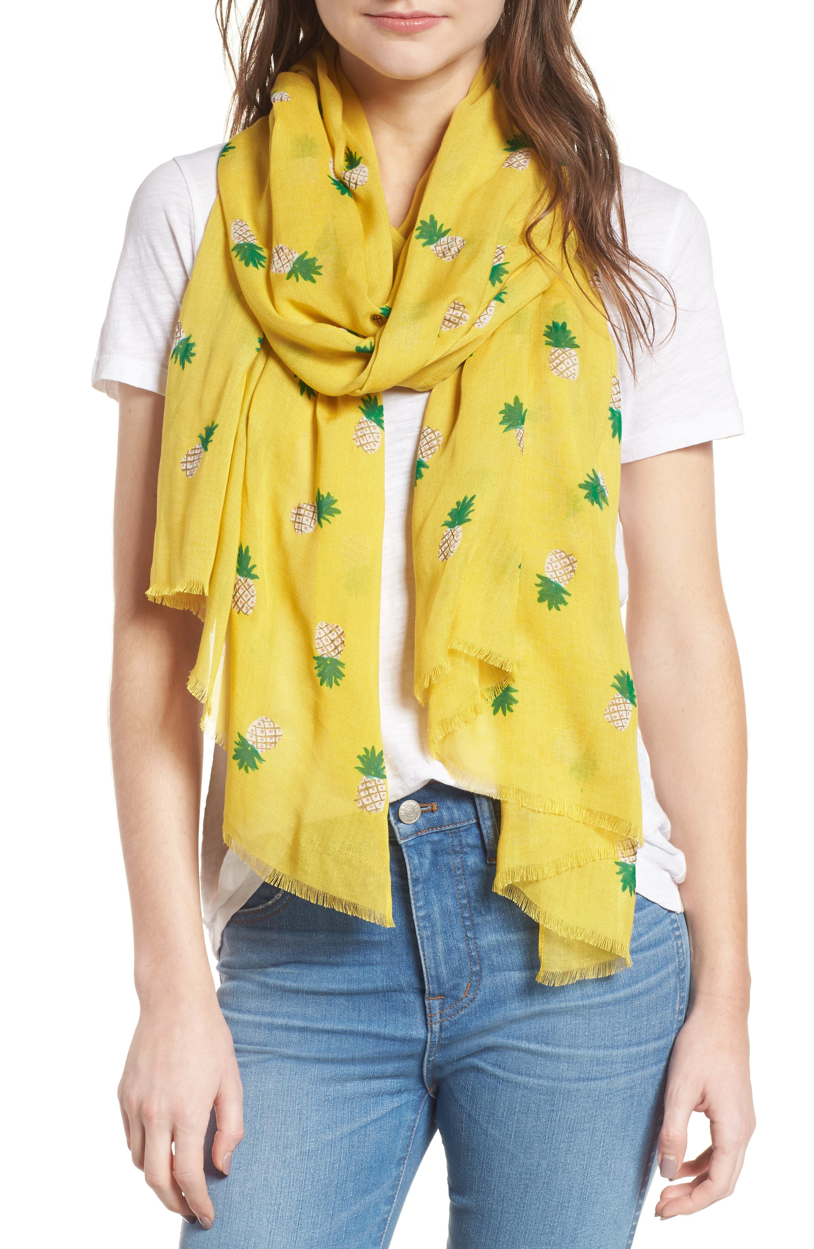 pineapple scarf,                             Main thumbnail 1, color,                             Bamboo Shoot