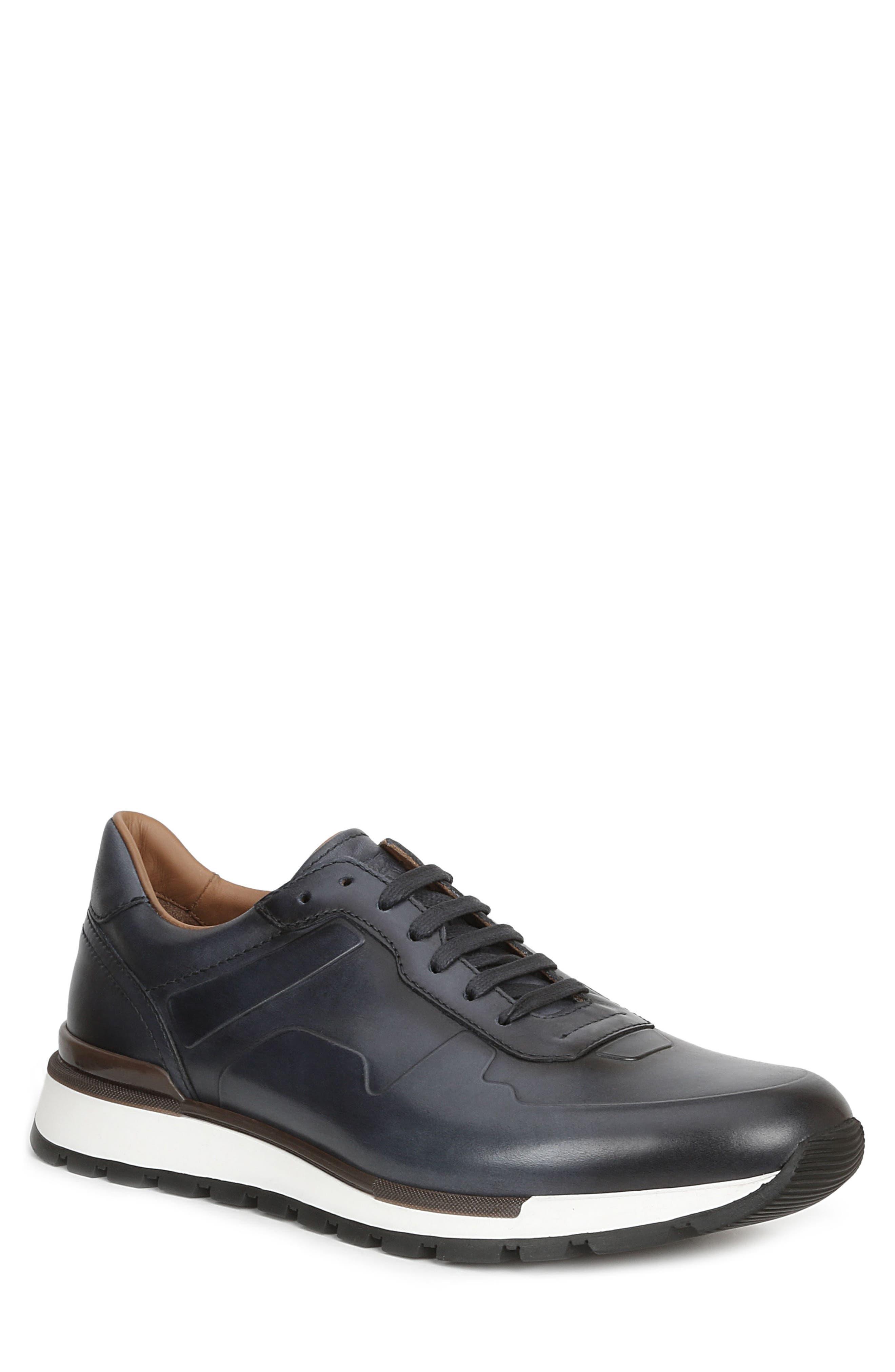 BRUNO MAGLI Davio Polished Leather Sneakers in Navy