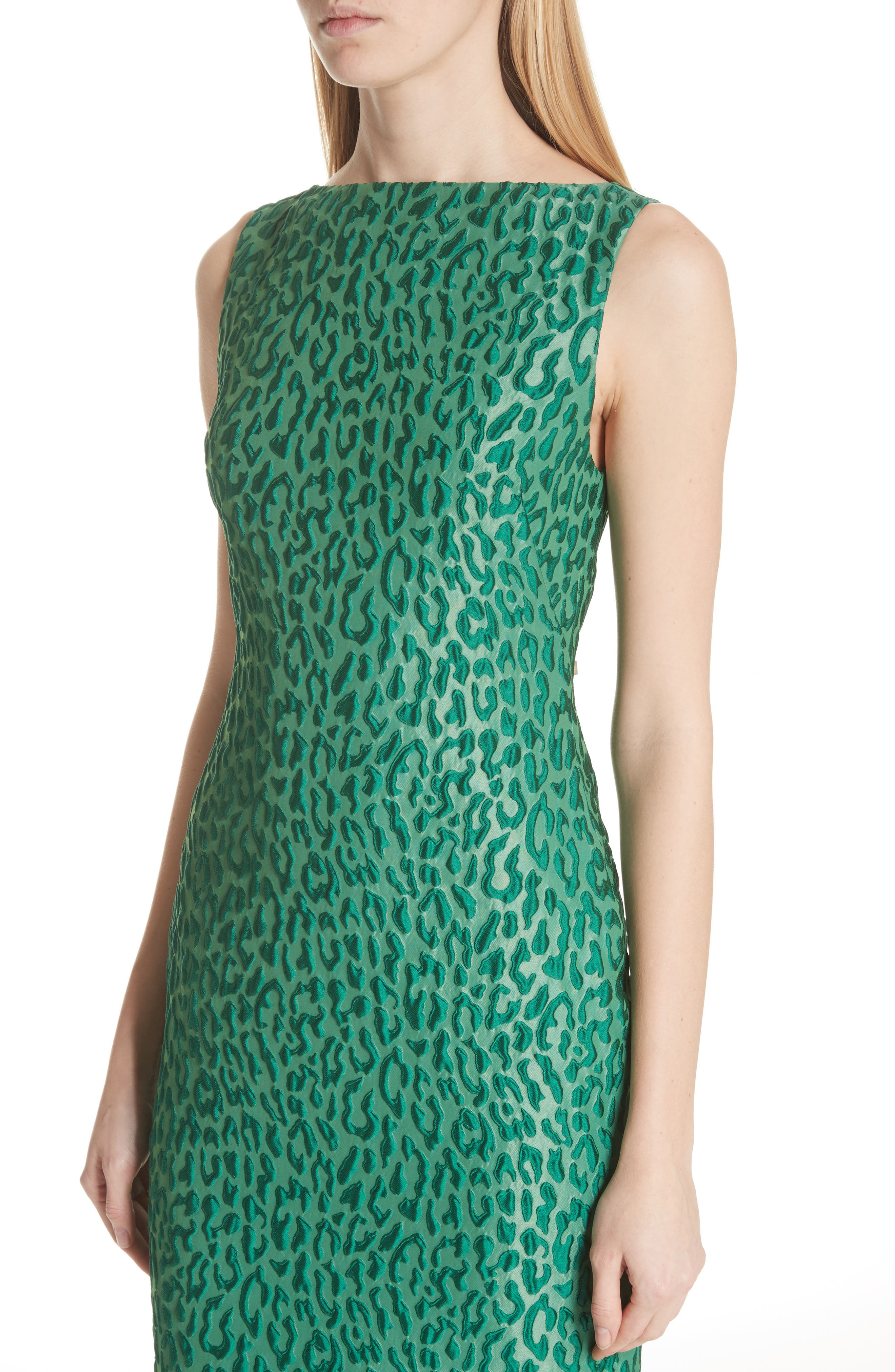 Leopard Jacquard Sheath Dress,                             Alternate thumbnail 4, color,                             Green