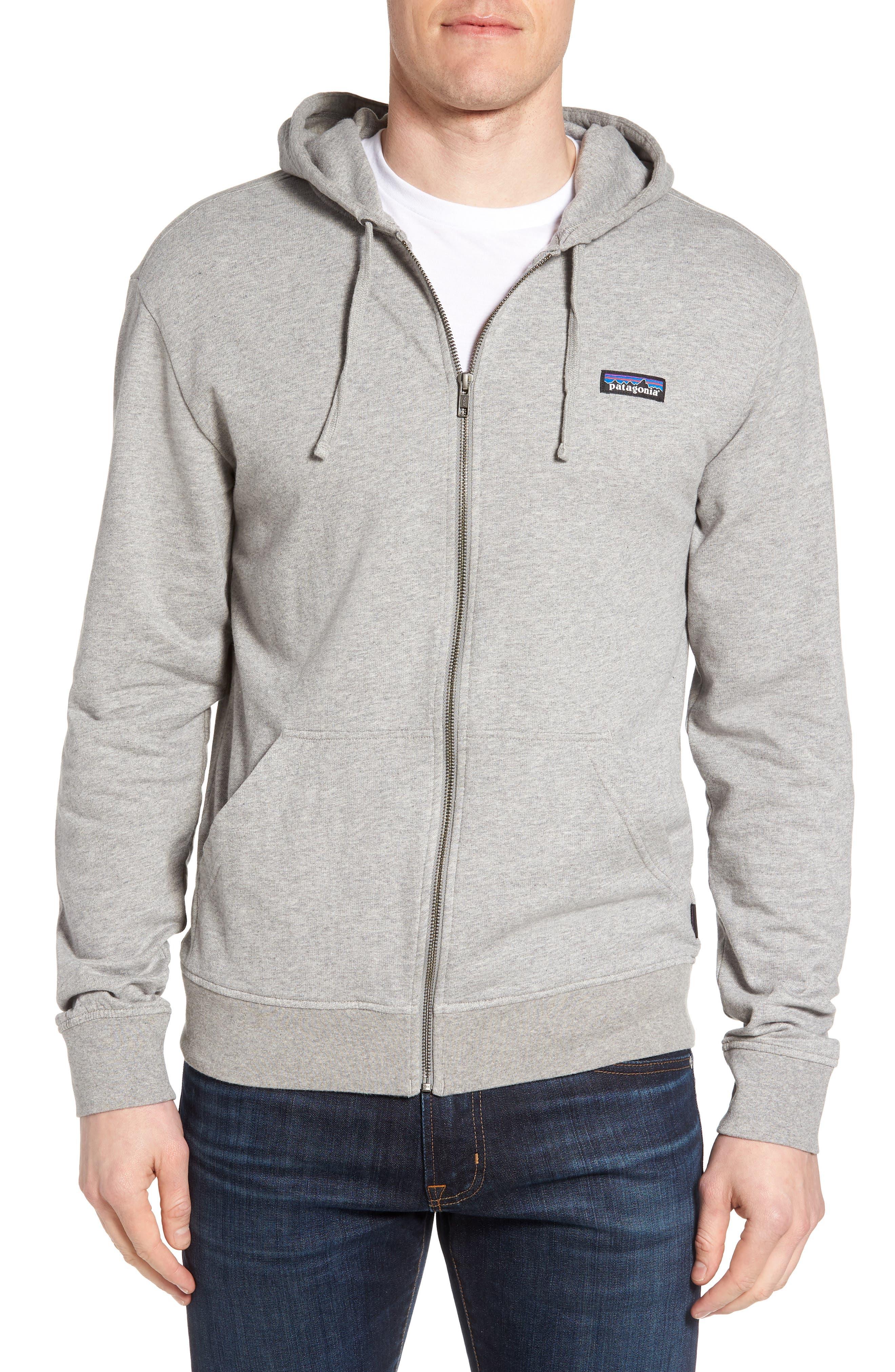 M's P-6 Logo Full Zip Hoodie,                         Main,                         color, Feather Grey