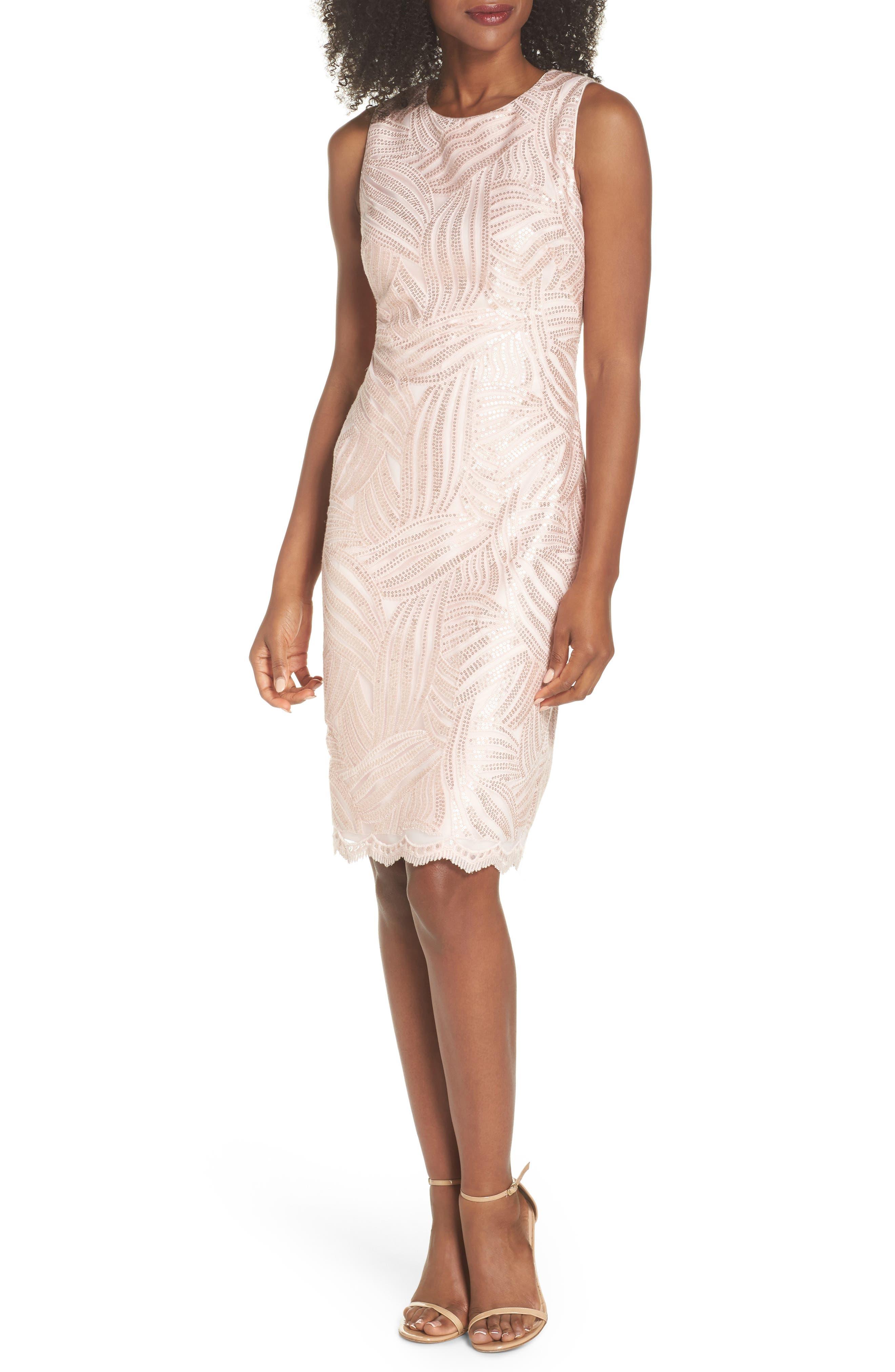 Sleeveless Sequin Sheath Dress,                         Main,                         color, Light Pink