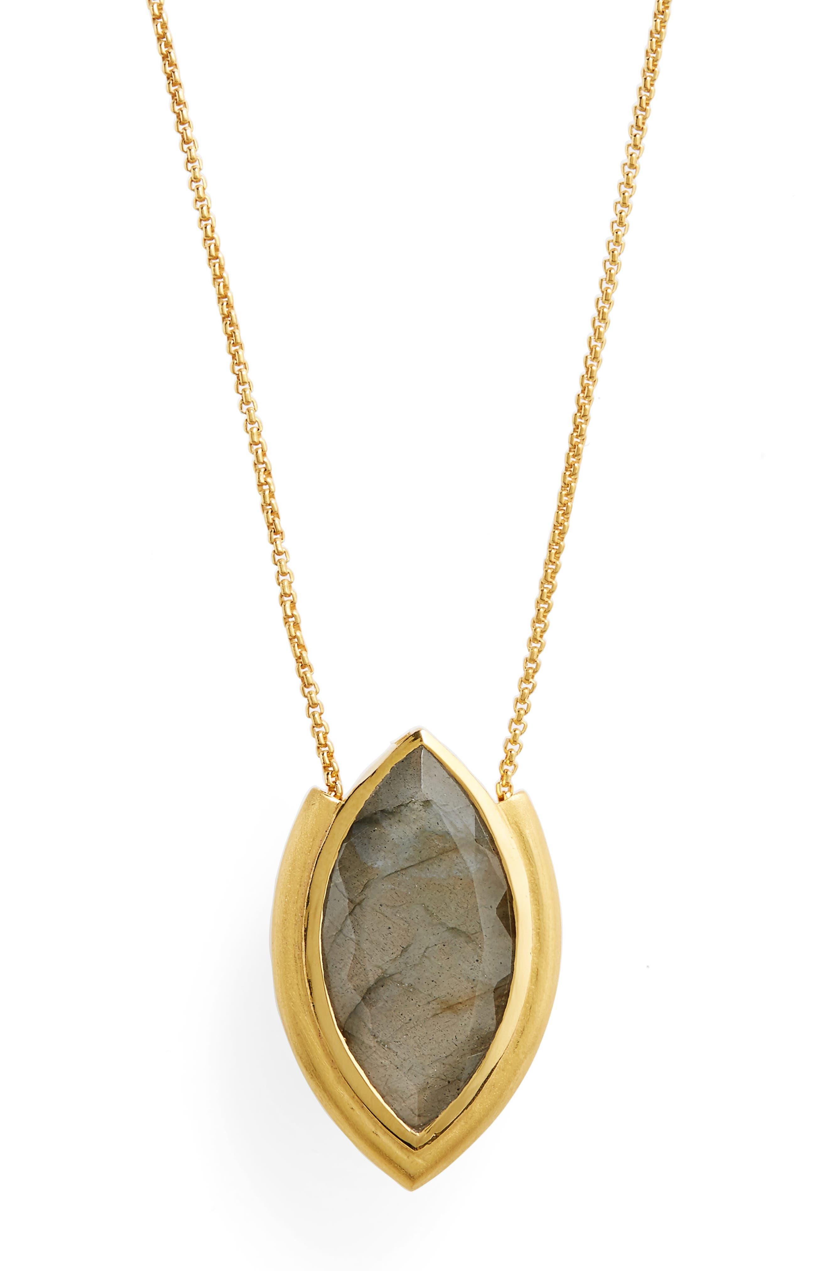 Lotus Pendant Necklace,                             Alternate thumbnail 2, color,                             Labradorite/ Gold