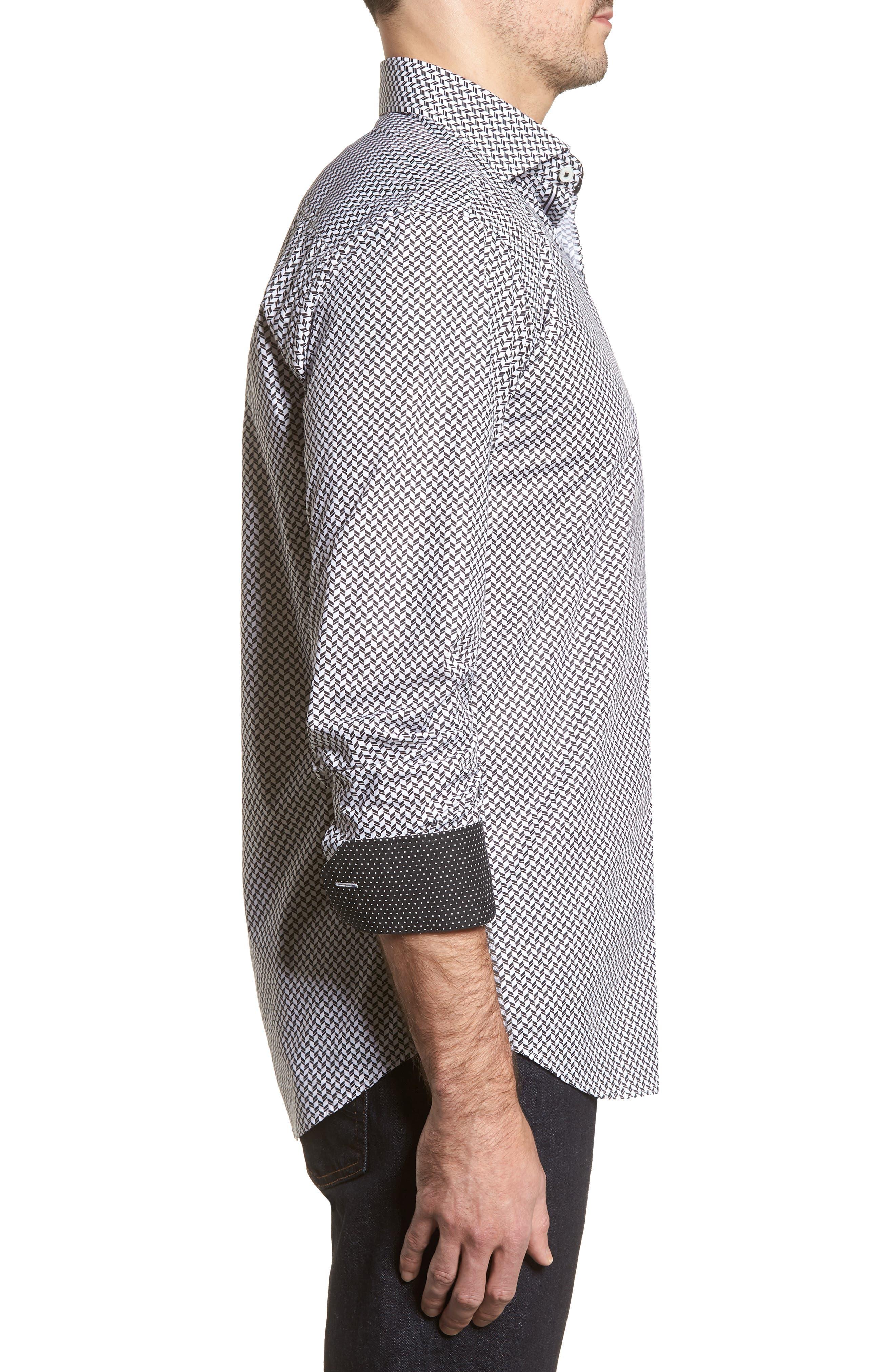 Shaped Fit Chevron Print Sport Shirt,                             Alternate thumbnail 4, color,                             Black