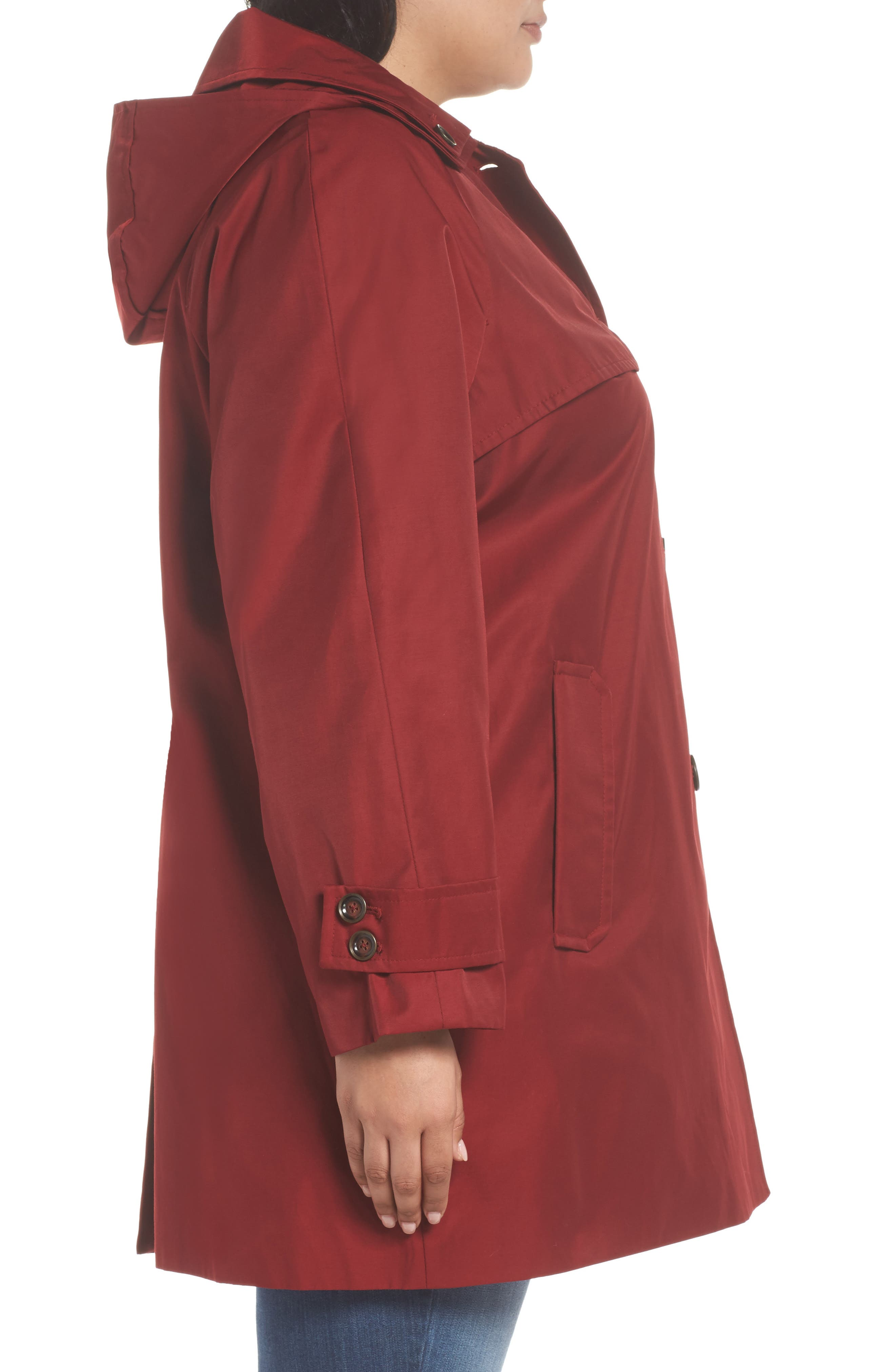 Removable Hood Rain Jacket,                             Alternate thumbnail 3, color,                             Red
