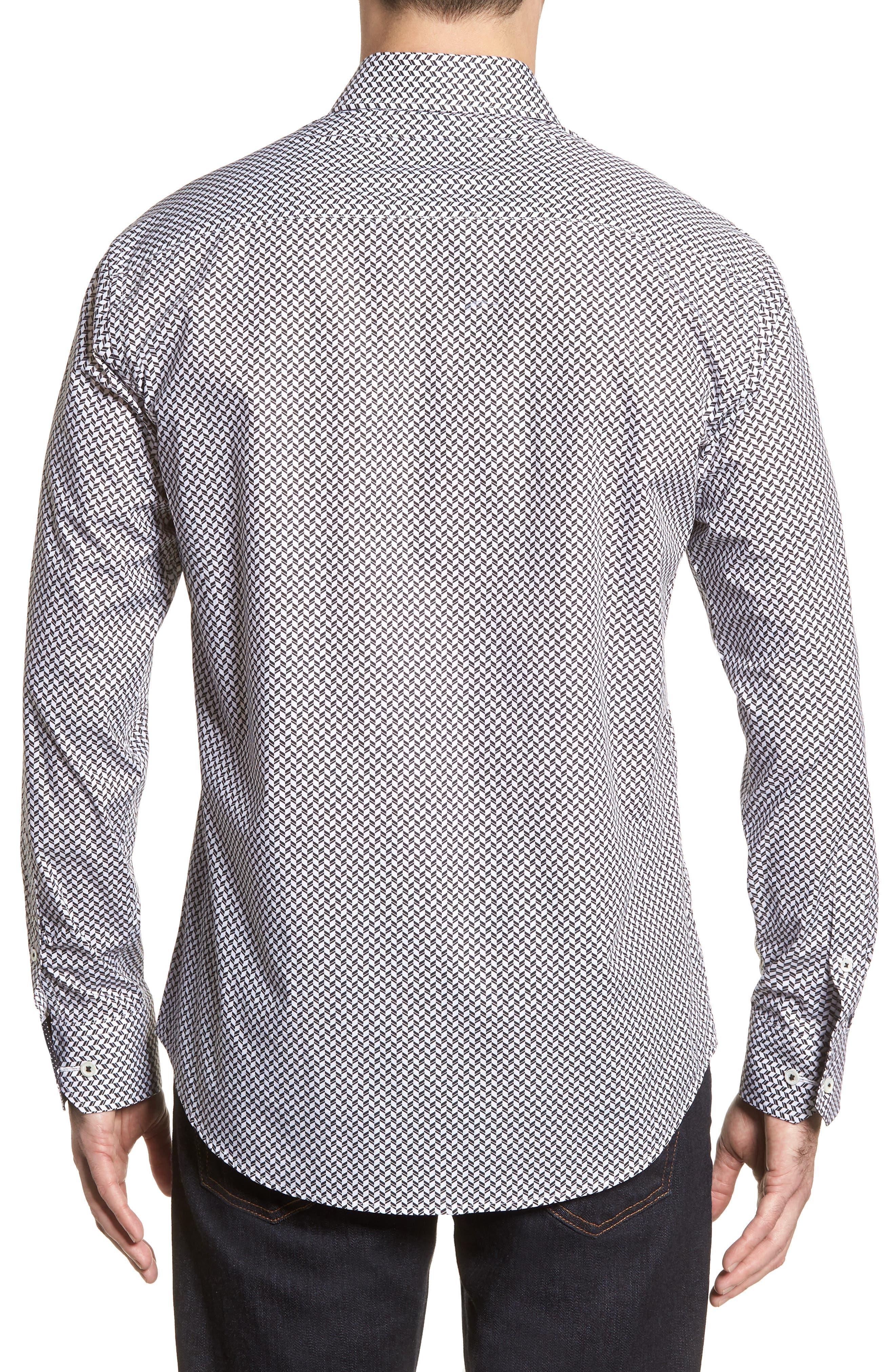 Shaped Fit Chevron Print Sport Shirt,                             Alternate thumbnail 3, color,                             Black