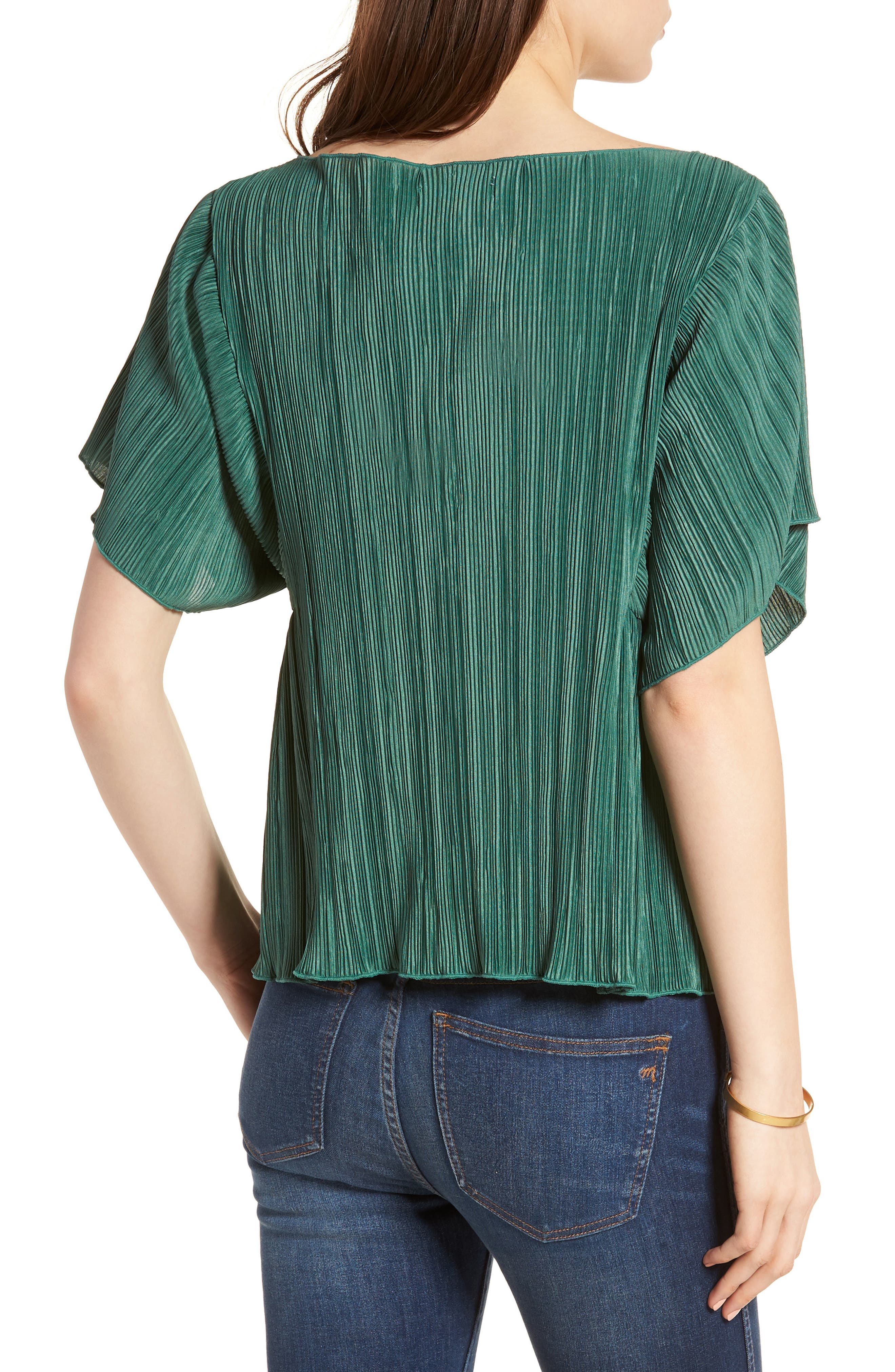 Micropleat Top,                             Alternate thumbnail 2, color,                             Dark Green
