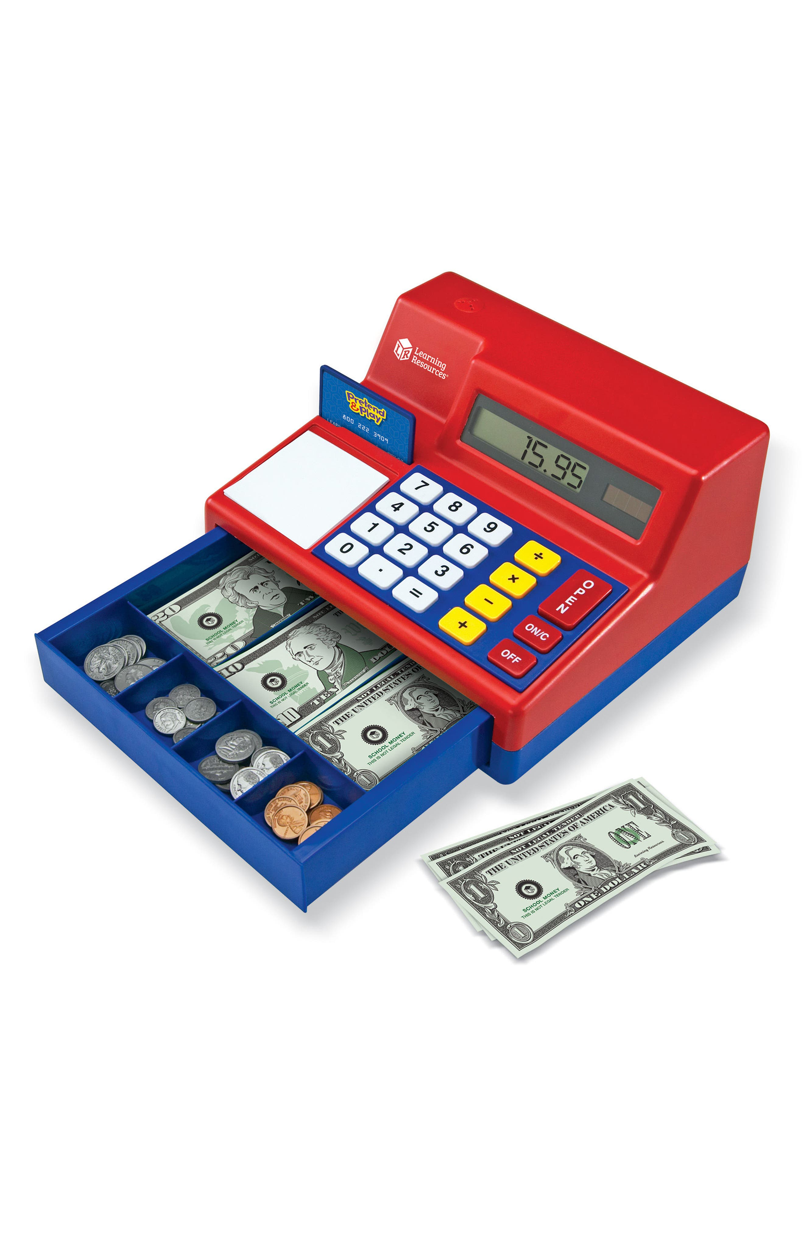 73-Piece Calculator Cash Register Toy,                             Alternate thumbnail 3, color,                             Red
