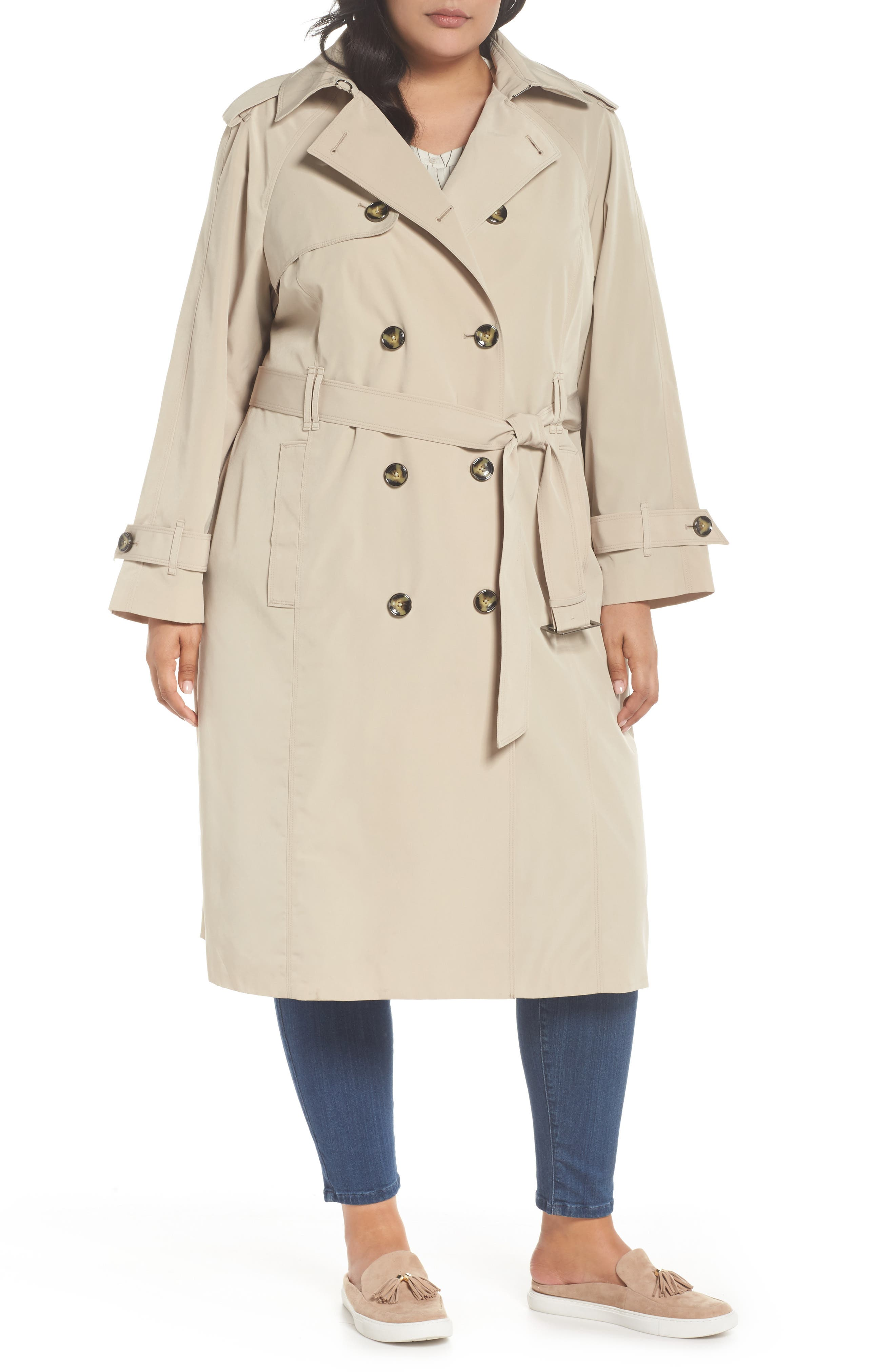 London Fog Double Breasted Trench Coat (Plus Size)
