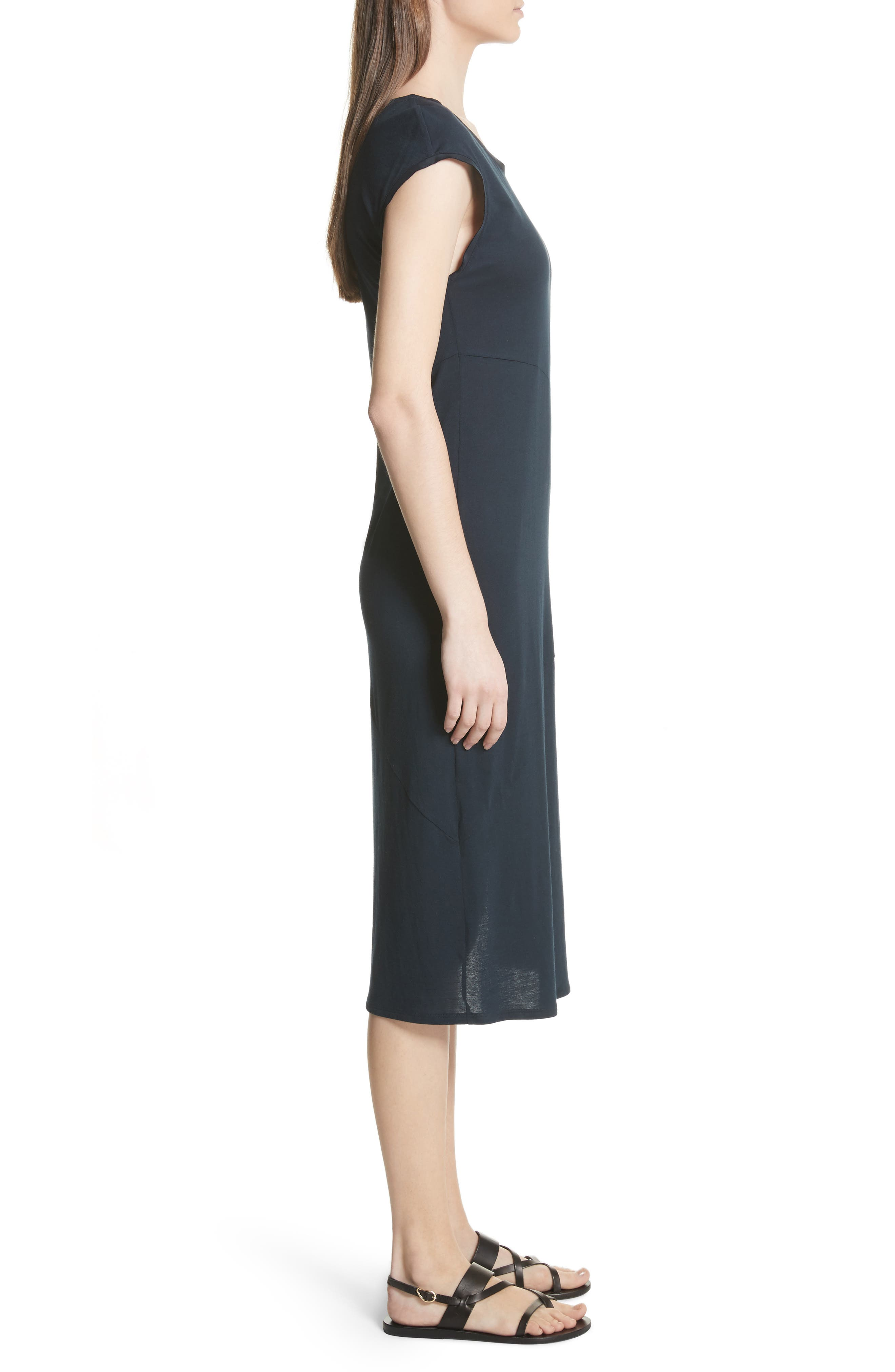 Plume Seamed Cotton Blend Jersey Dress,                             Alternate thumbnail 3, color,                             Deep Navy