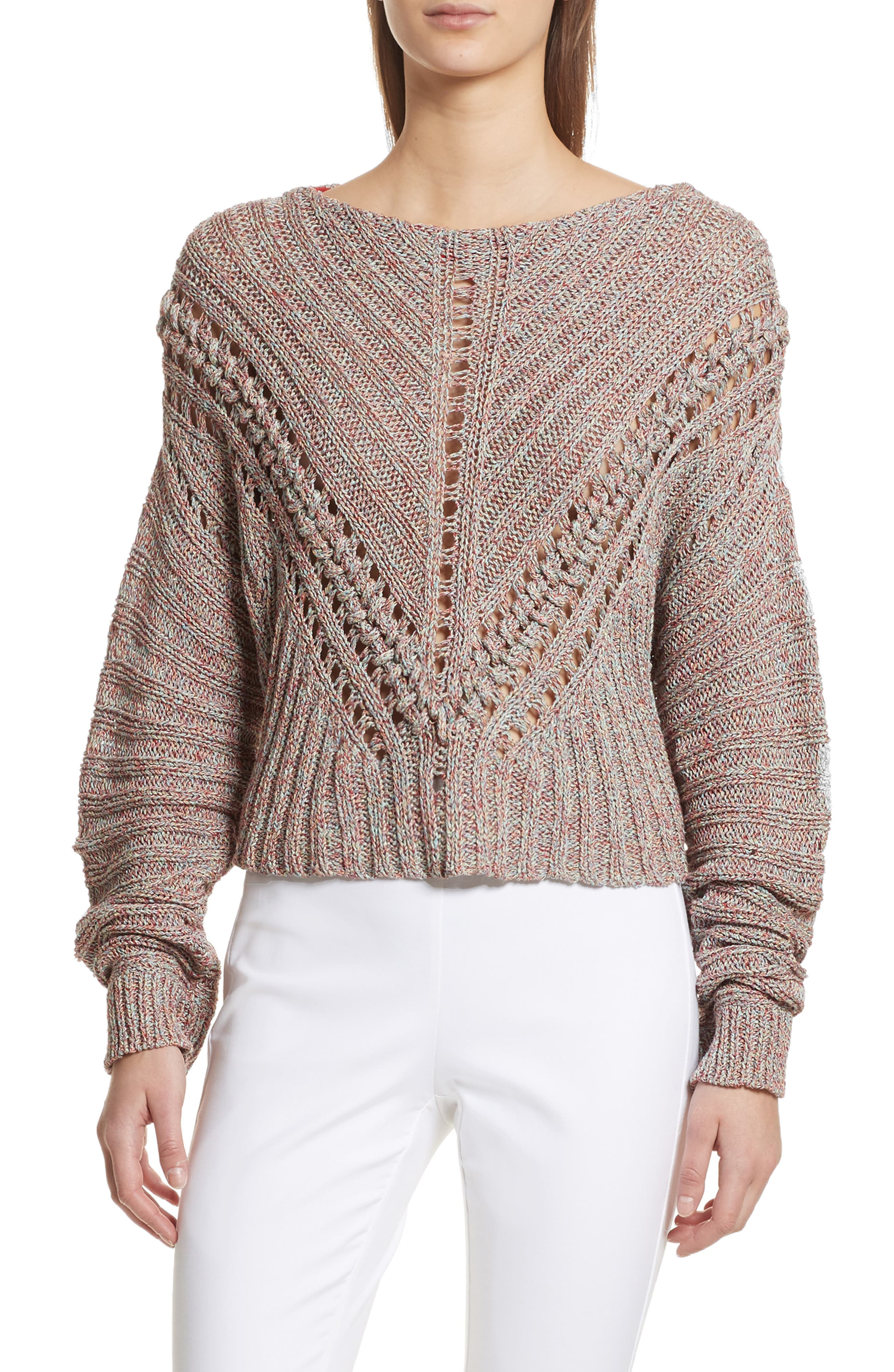Roman Pointelle Ribbed Sweater,                             Main thumbnail 1, color,                             Pink