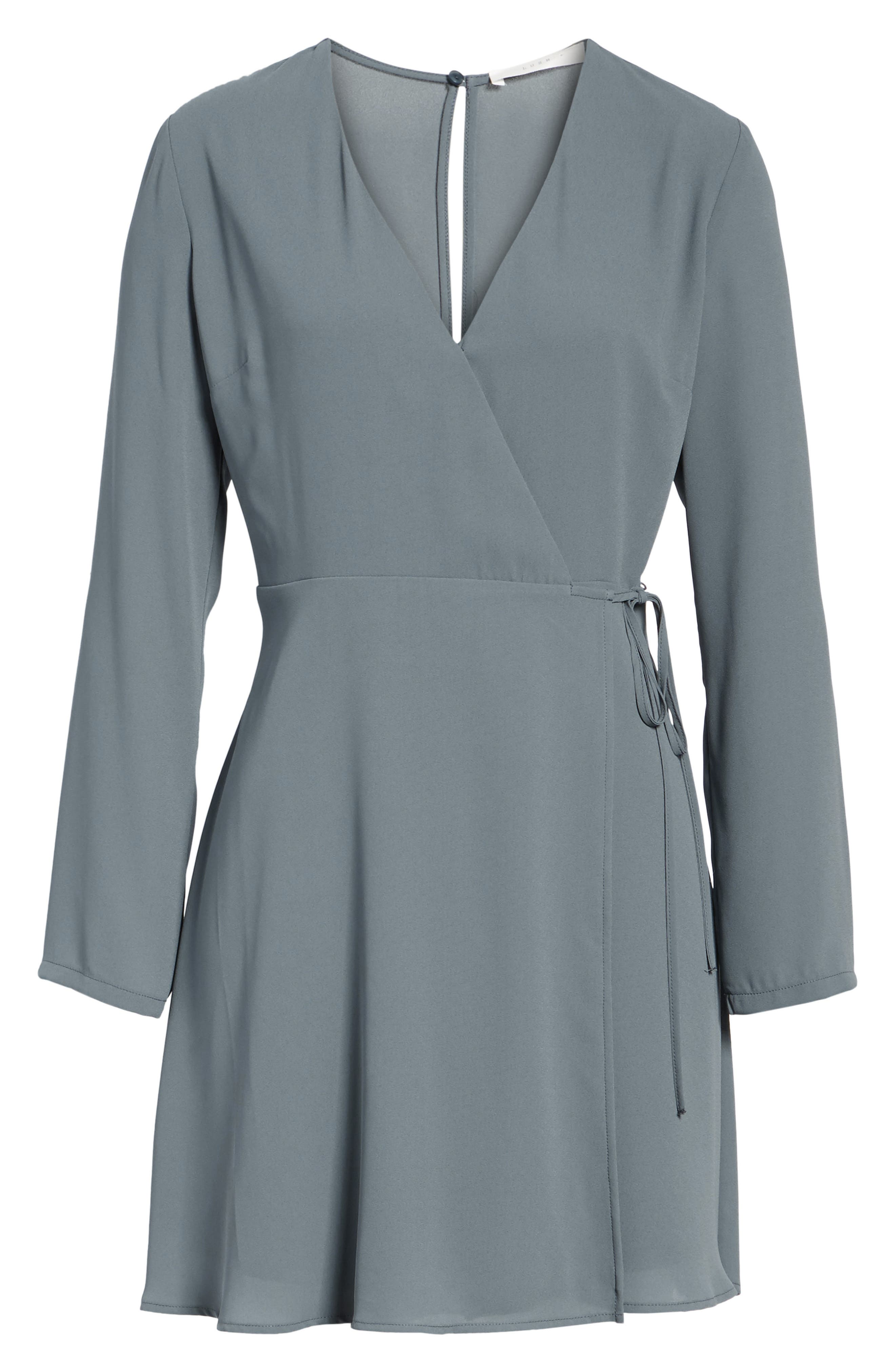 Elly Wrap Dress,                             Alternate thumbnail 6, color,                             Stormy Weather