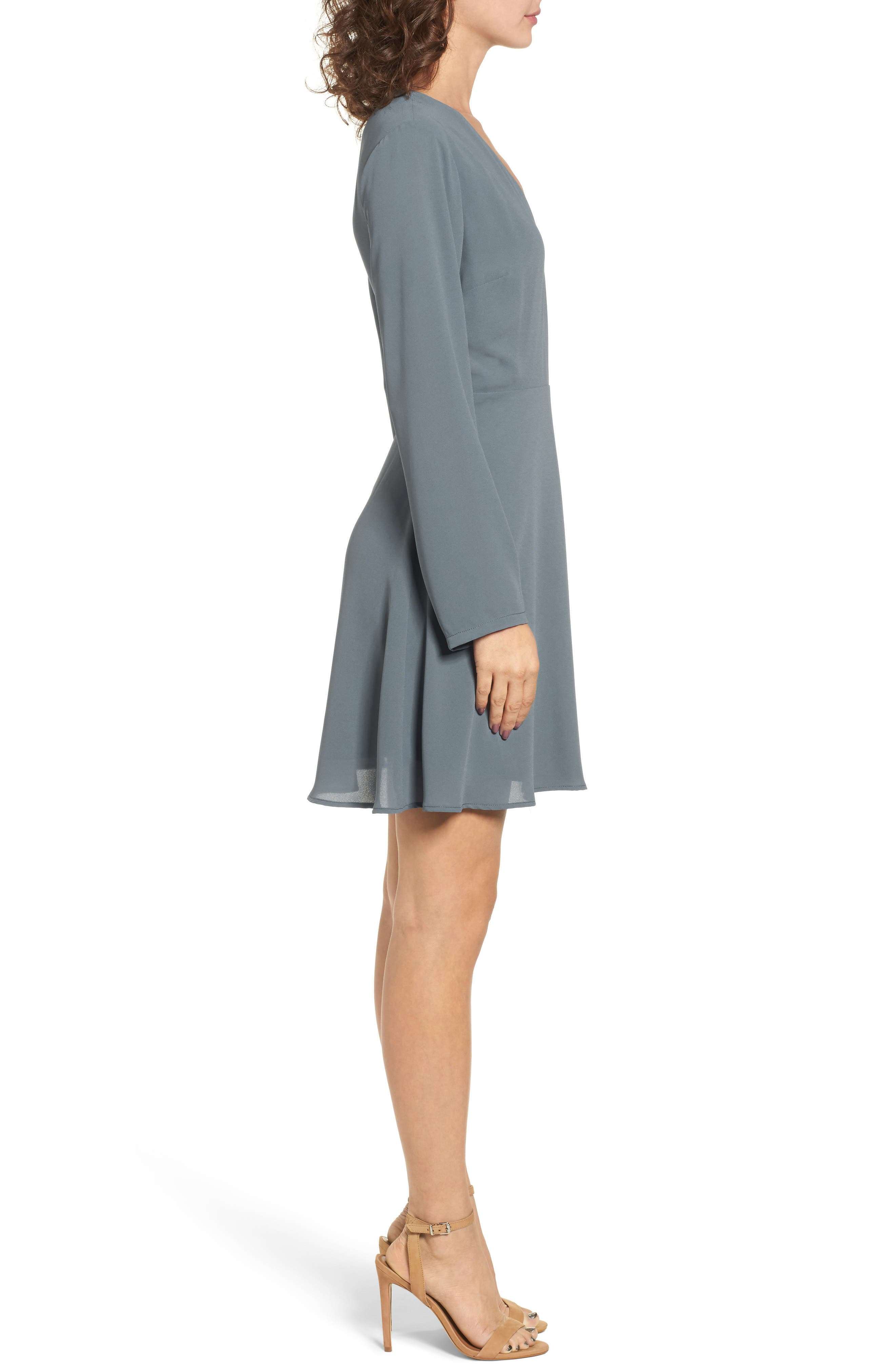 Elly Wrap Dress,                             Alternate thumbnail 3, color,                             Stormy Weather