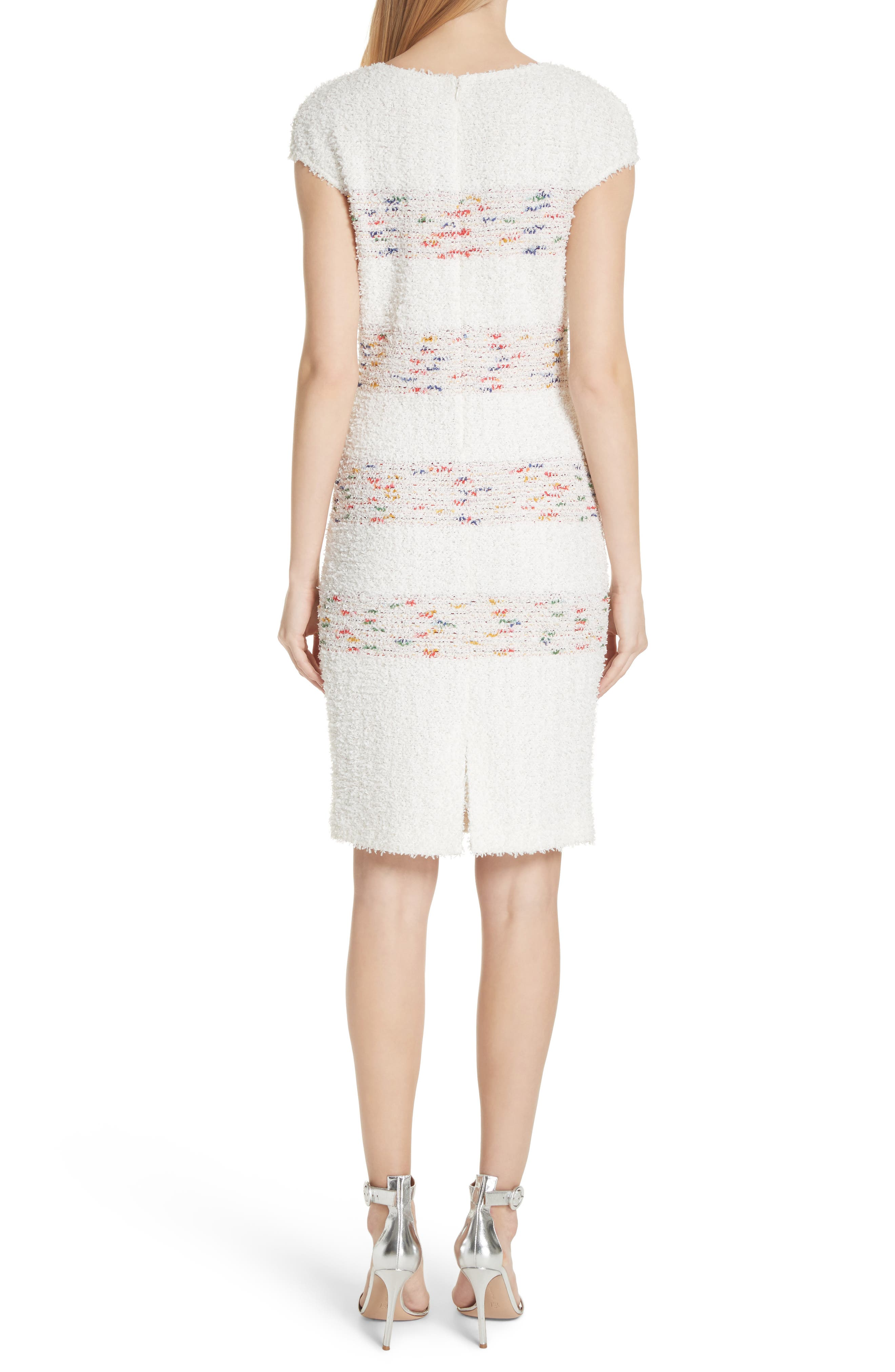 Flagged Stripe Knit Dress,                             Alternate thumbnail 2, color,                             Cream Multi