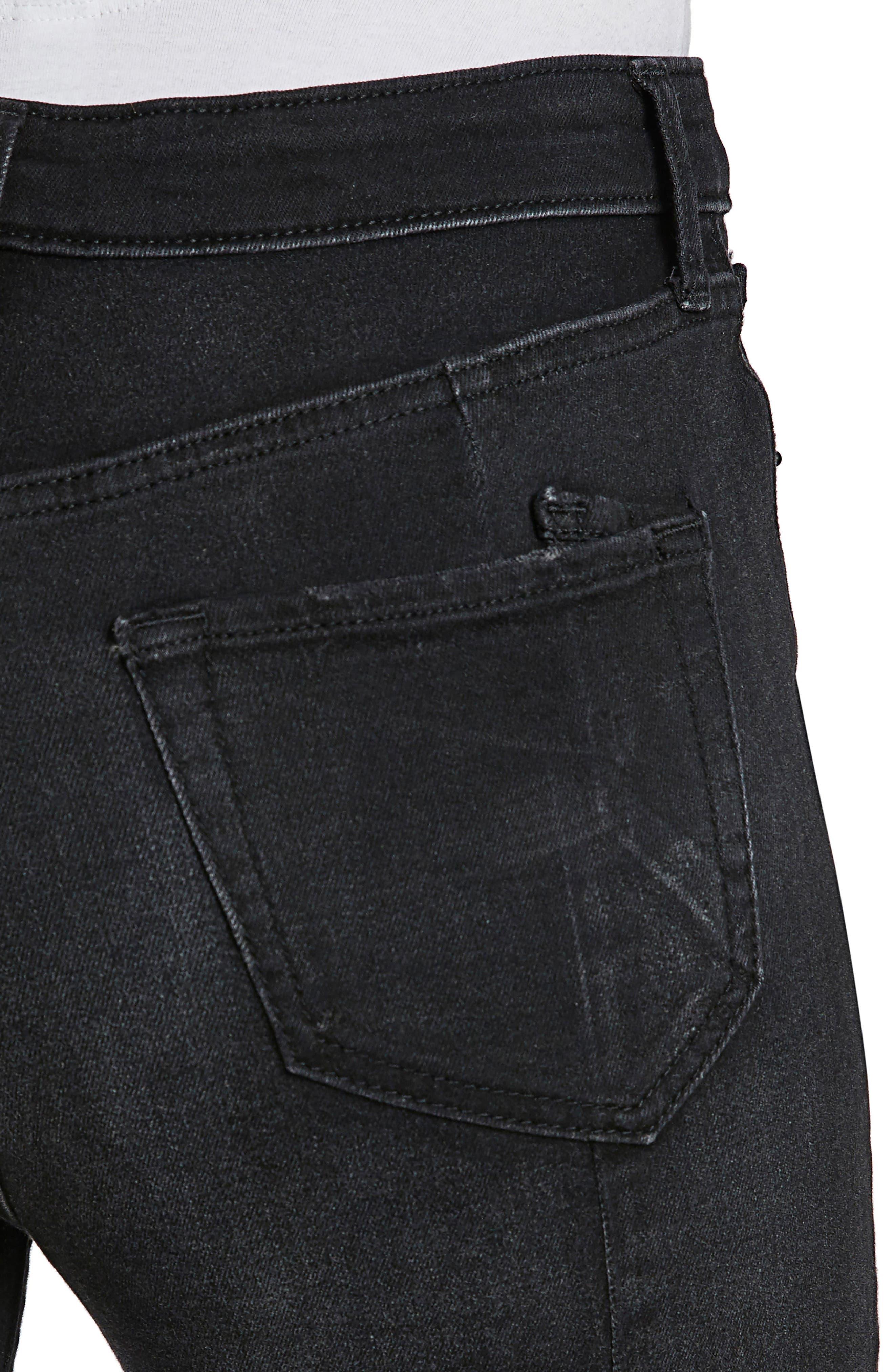 Chevelle Split Ankle Skinny Jeans,                             Alternate thumbnail 4, color,                             Black