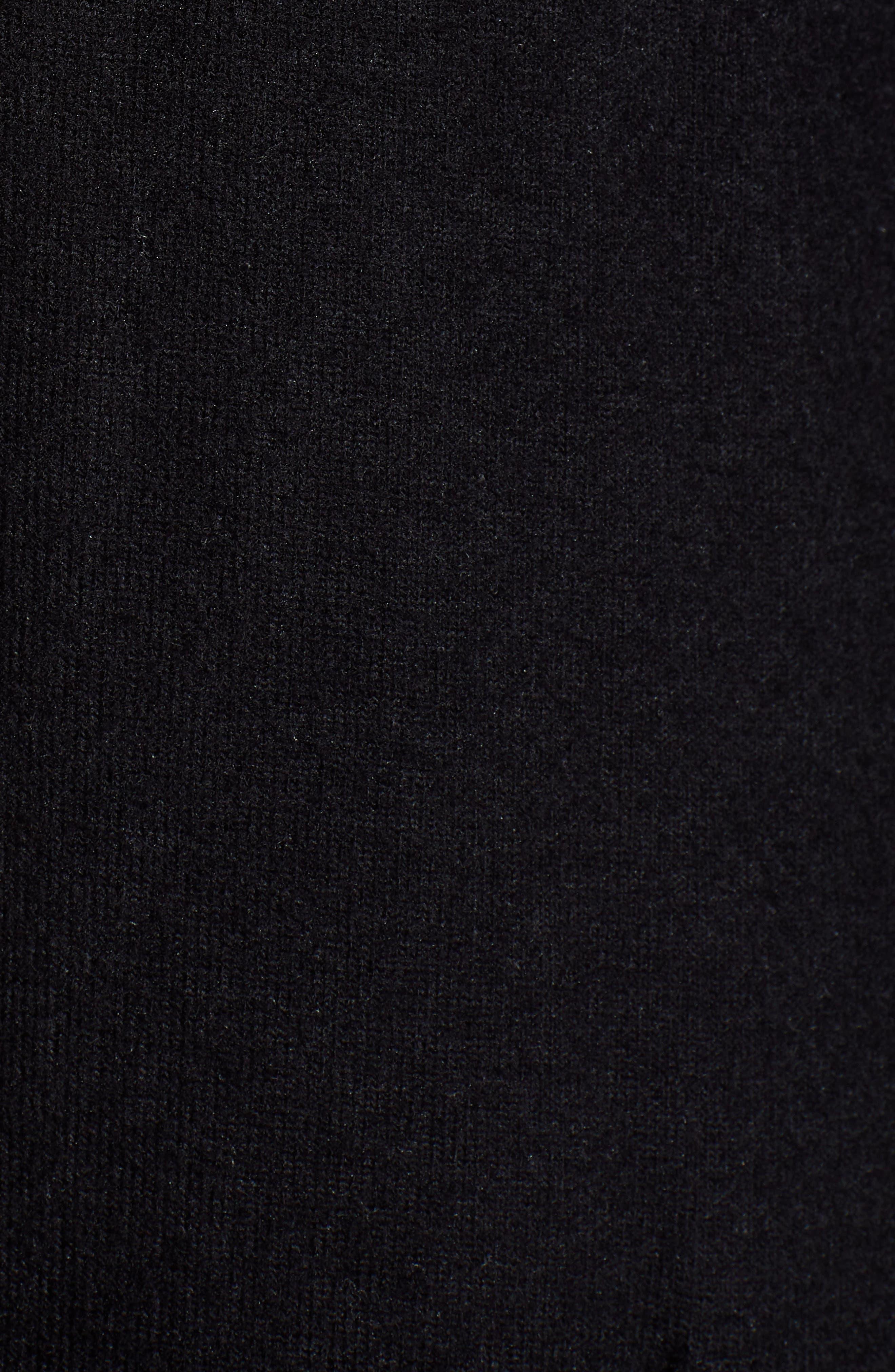 Long Fleece Open Cardigan,                             Alternate thumbnail 6, color,                             Black