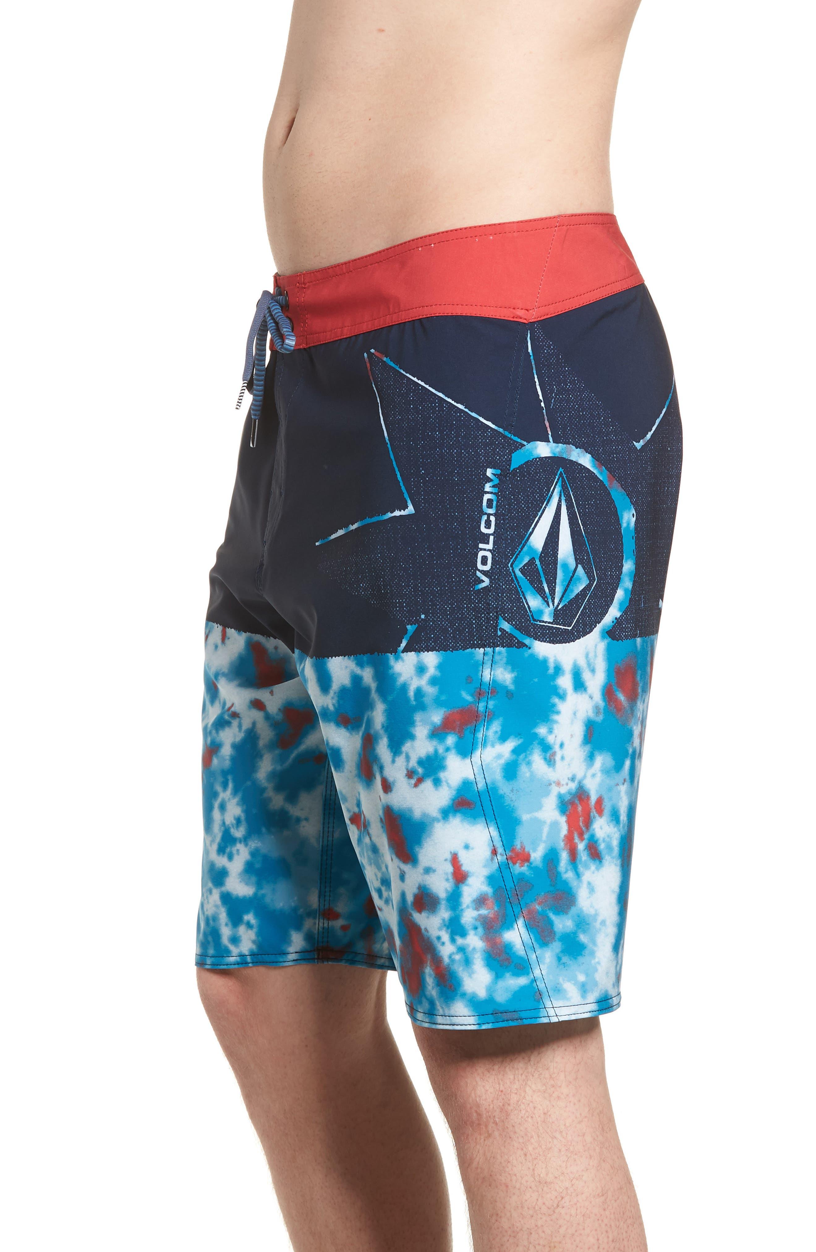 Lido Block Mod Board Shorts,                             Alternate thumbnail 3, color,                             Blue True