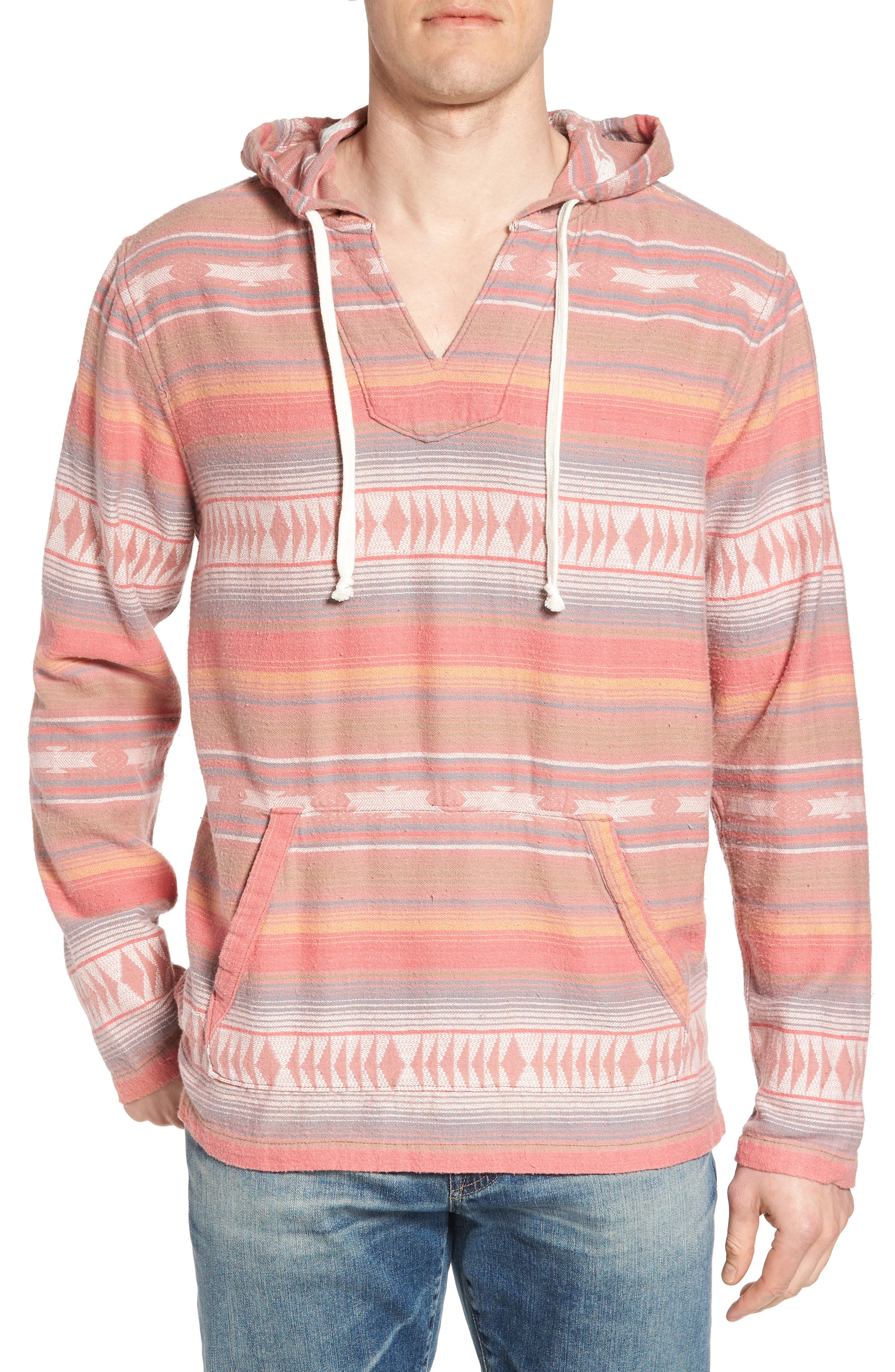 Baja Poncho Hoodie,                         Main,                         color, Faded Red