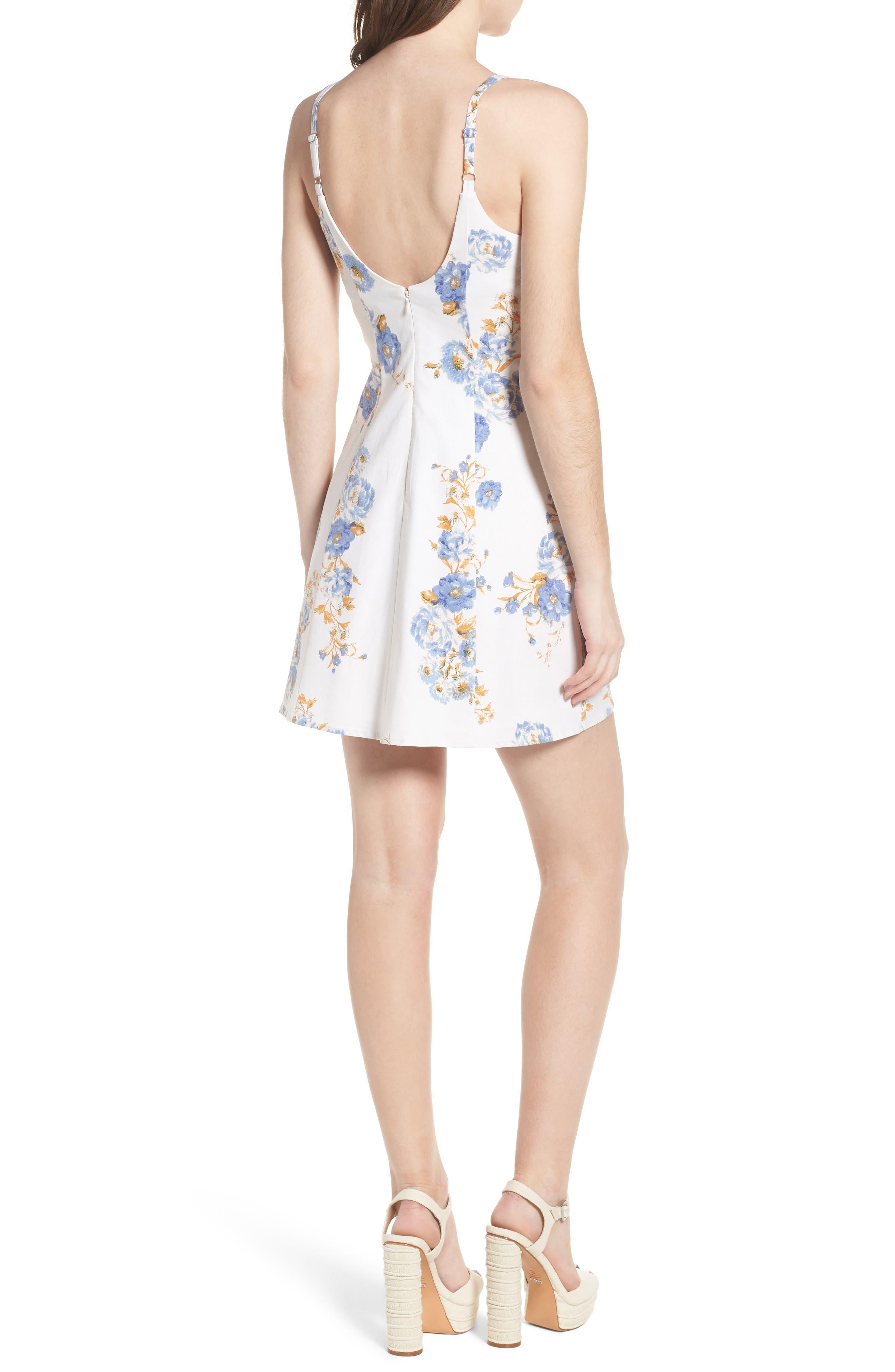 Modena Lace-Up Minidress,                             Alternate thumbnail 2, color,                             Ivory Floral