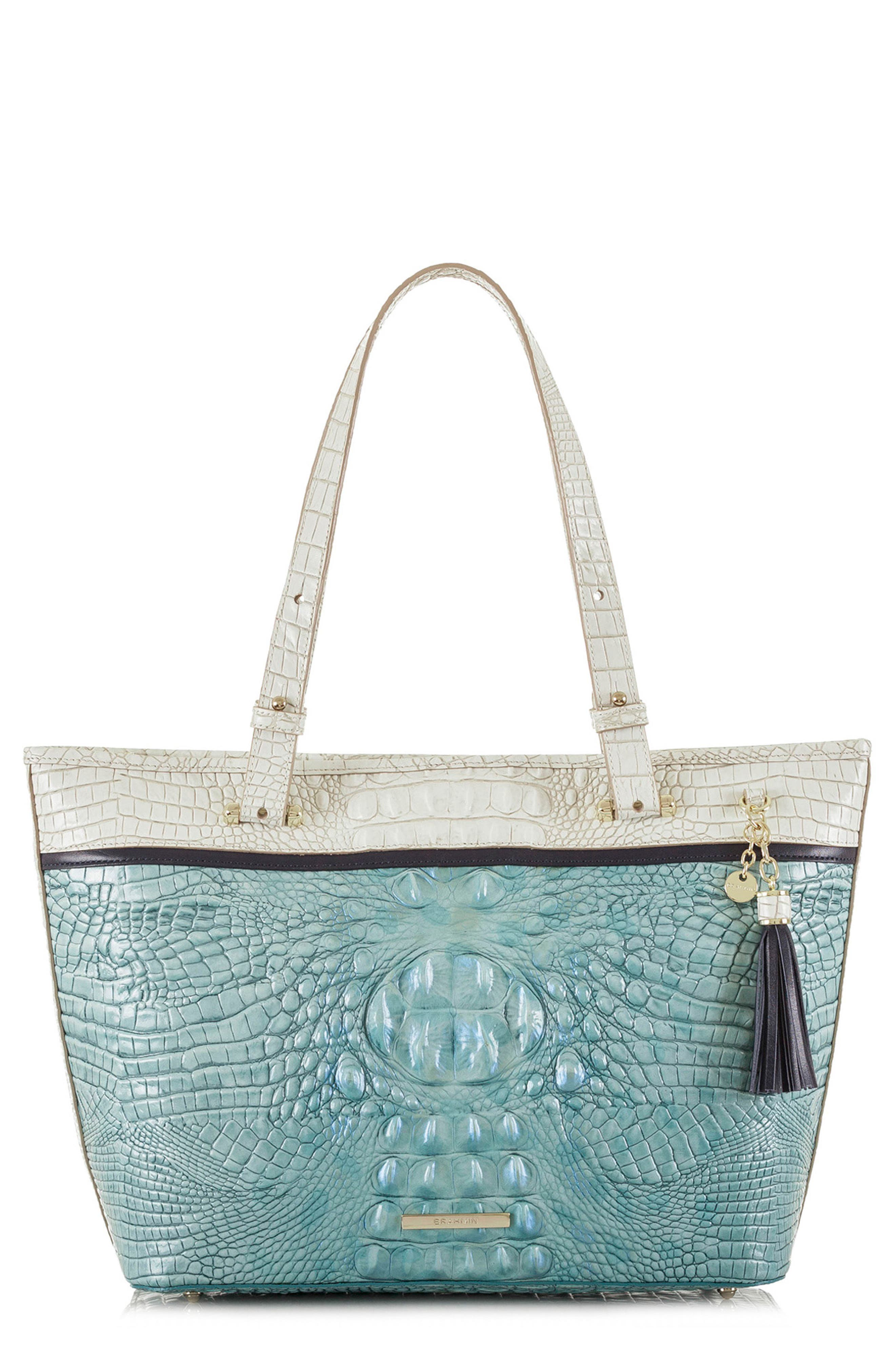 Medium Asher Embossed Leather Tote,                         Main,                         color, Astral