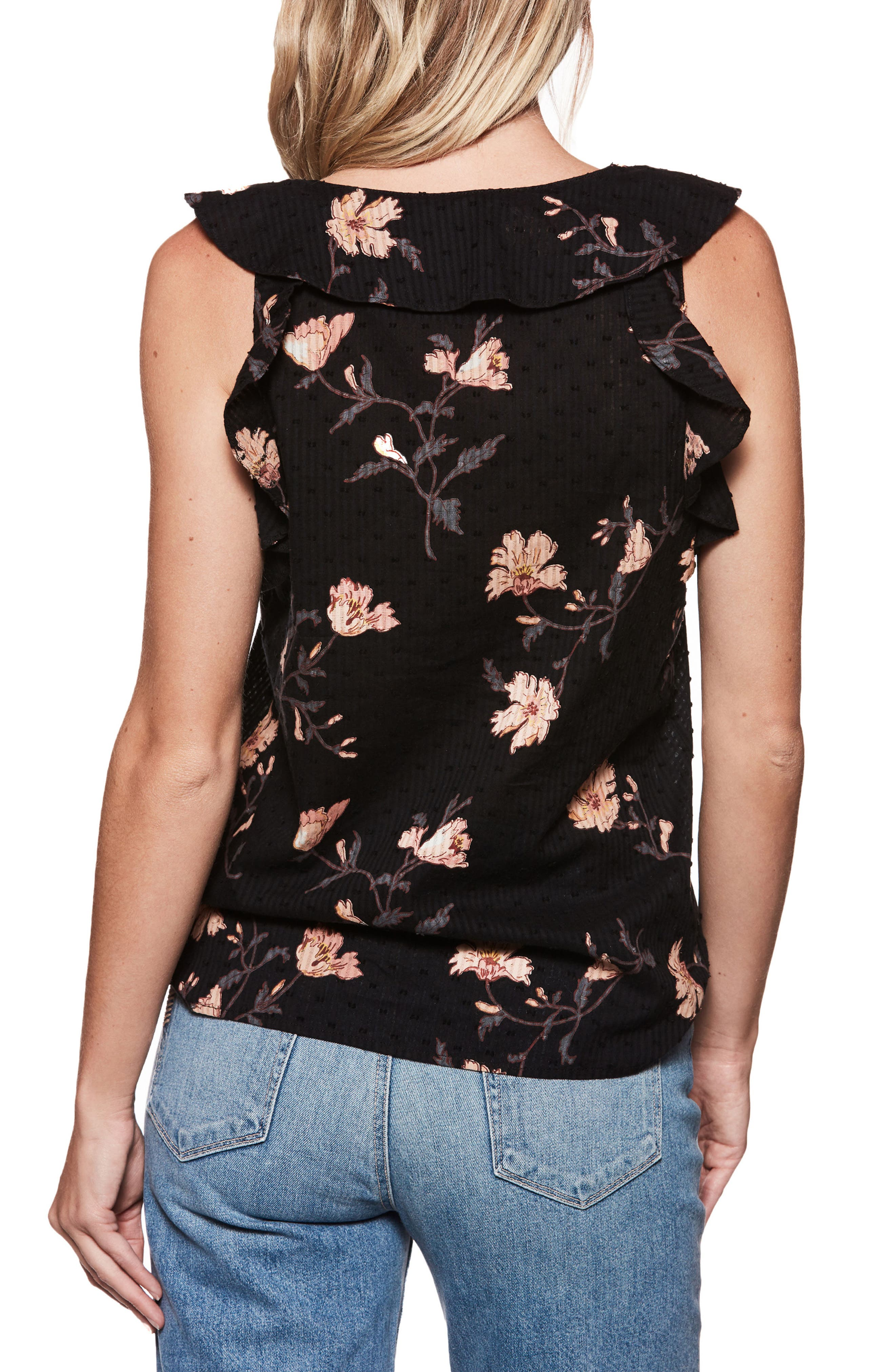 Farfalla Floral Print Ruffle Sleeveless Top,                             Alternate thumbnail 2, color,                             Black / Desert Sunrise