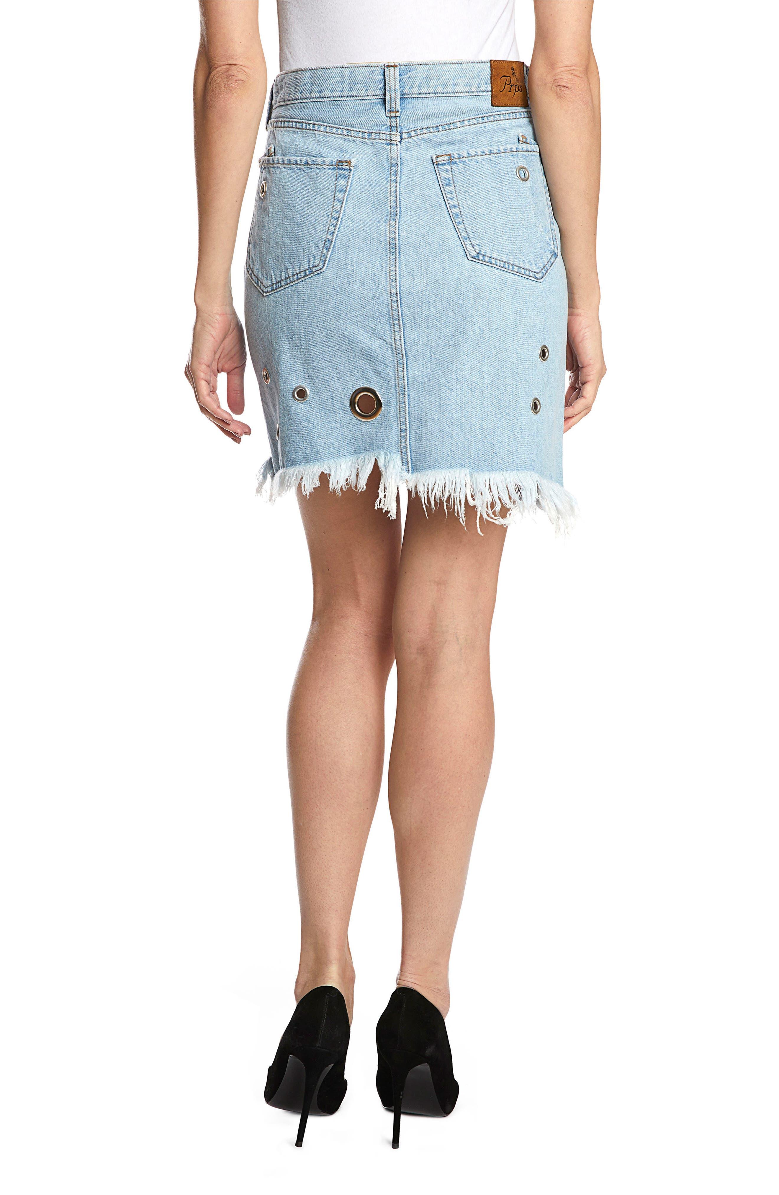 Nomad Grommet Denim Skirt,                             Alternate thumbnail 2, color,                             Light Stone