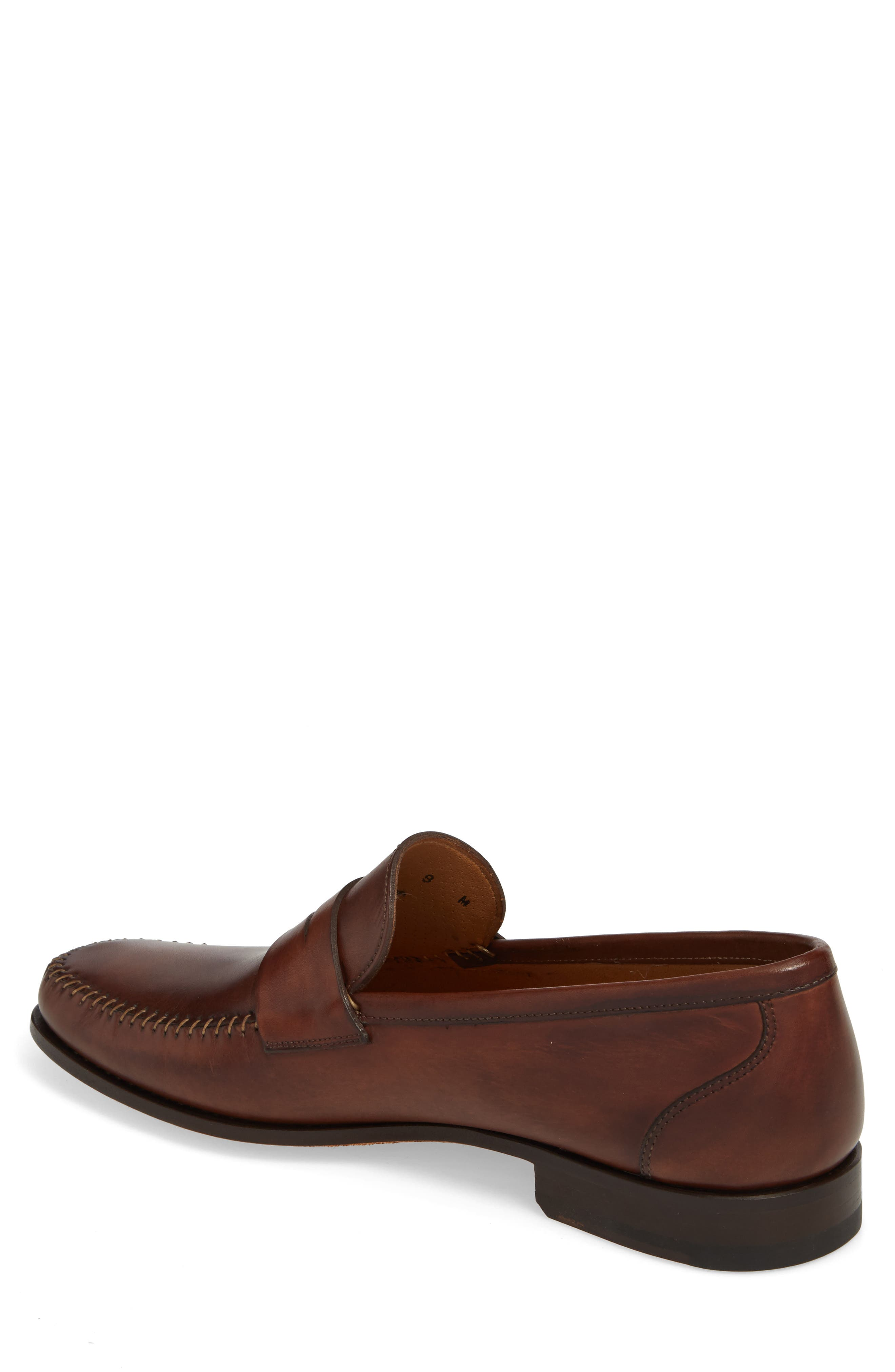 Ramos Moc Toe Penny Loafer,                             Alternate thumbnail 2, color,                             Brown Leather